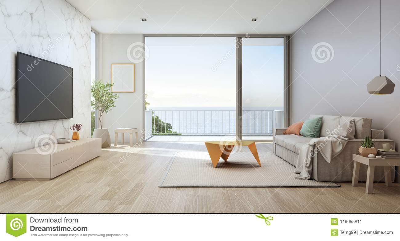 Sea View Living Room Of Luxury Beach House With Glass Door
