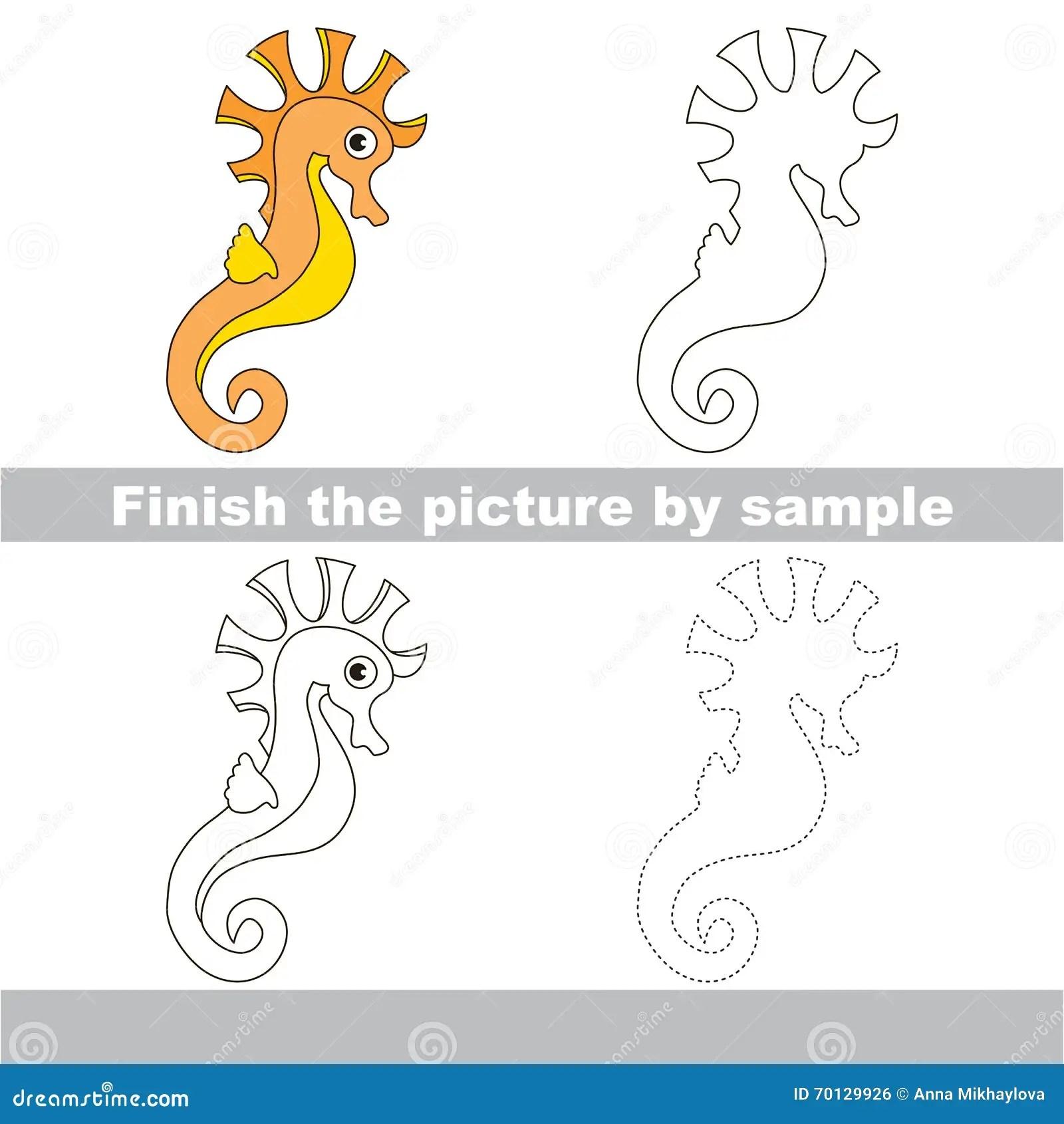 Seahorse Drawing Worksheet Stock Vector