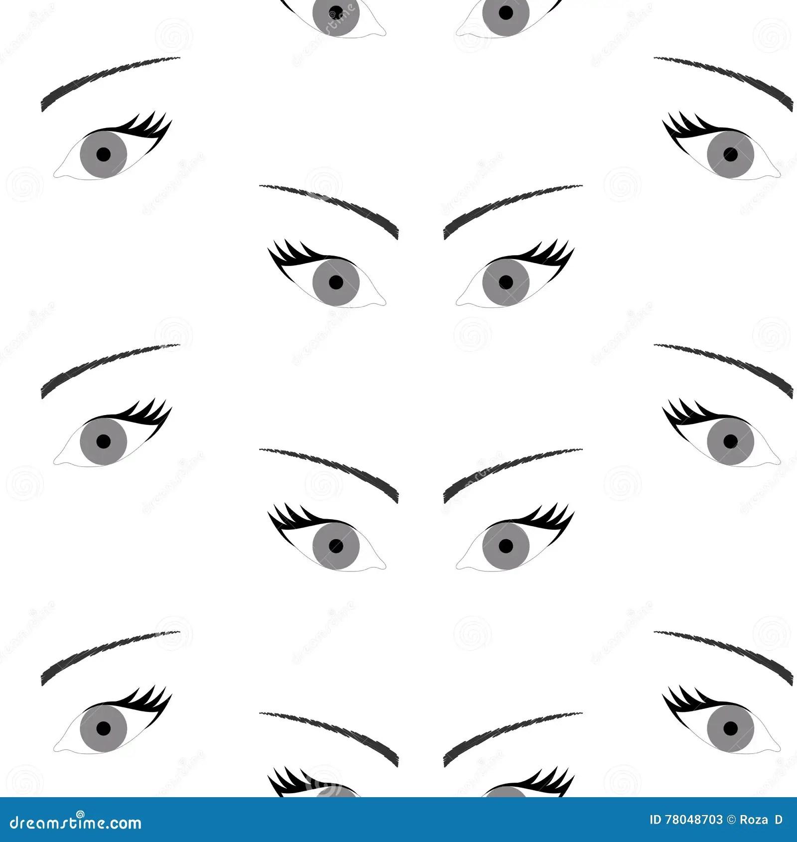 Seamless Background With Beautiful Eyes Endless Eye