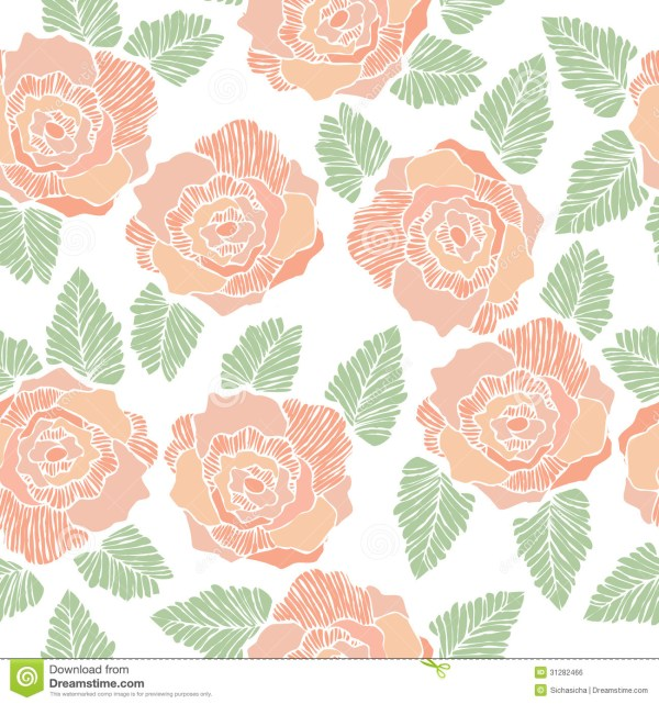 Seamless Background Pattern Of Rose Flower Stock Vector