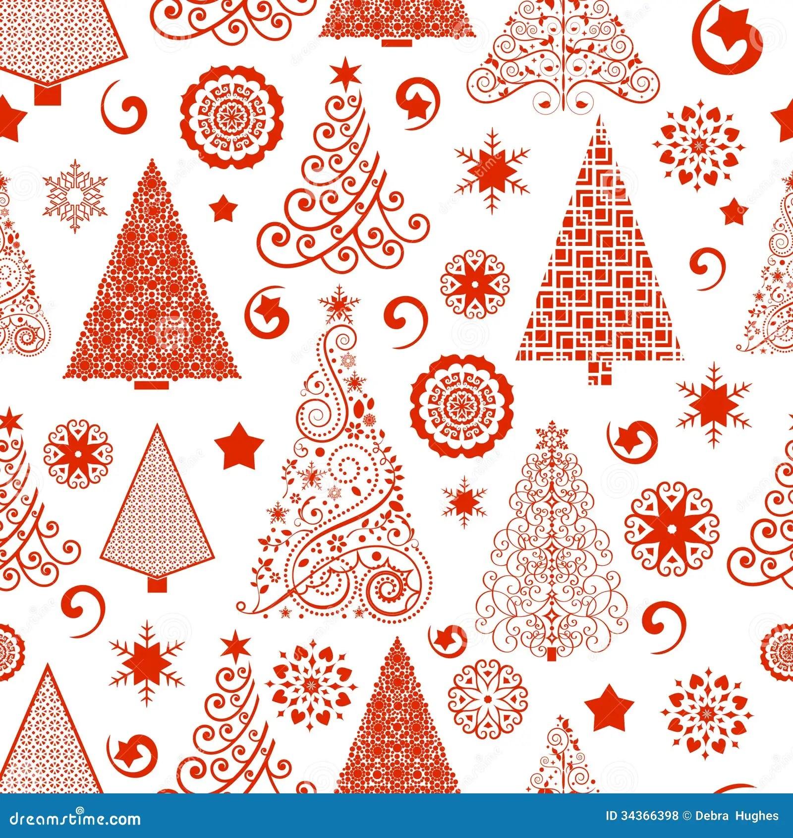 Seamless Christmas Tree Pattern Stock Vector