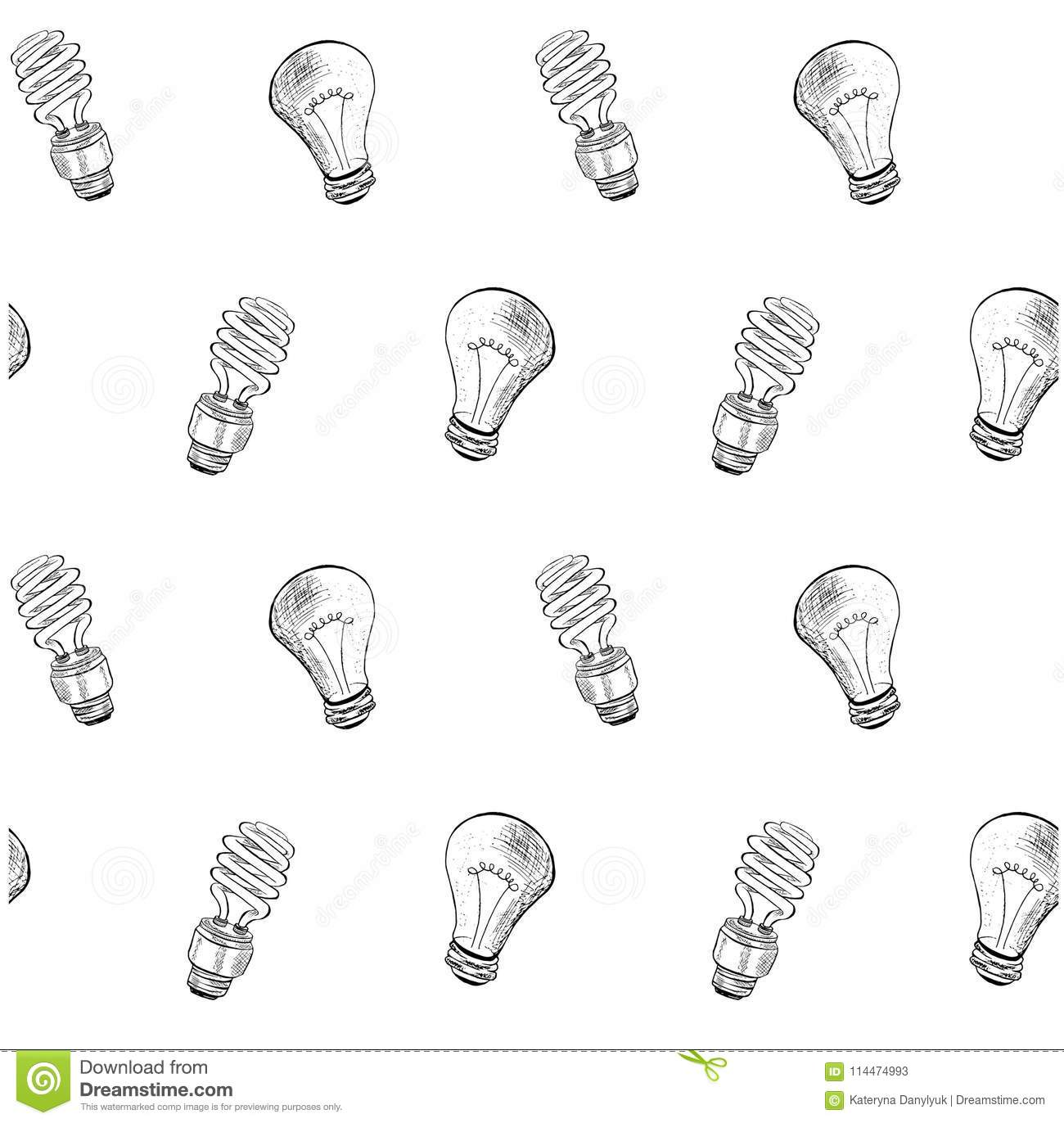 Seamless Compact Fluorescent Light Bulb And Light Bulb Sketch Pattern Stock Vector