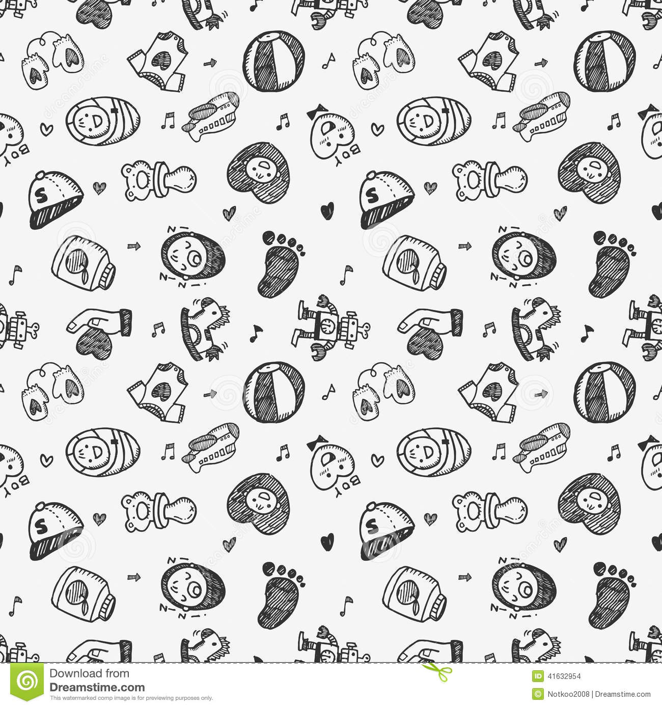 Seamless Doodle Baby Pattern Background Stock Vector