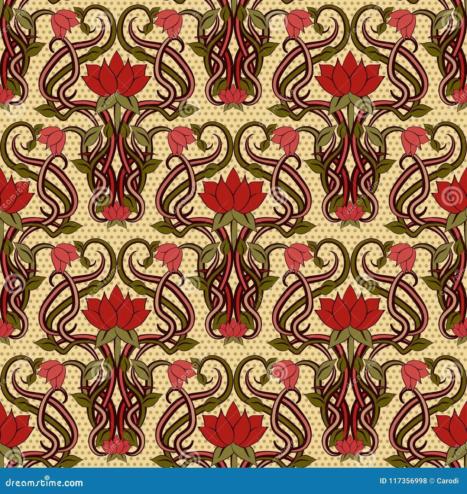 Visualizza altre idee su carta da parati, art deco,. Seamless Floral Wallpaper In Art Nouveau Style Stock Vector Illustration Of Holiday Modern 117356998