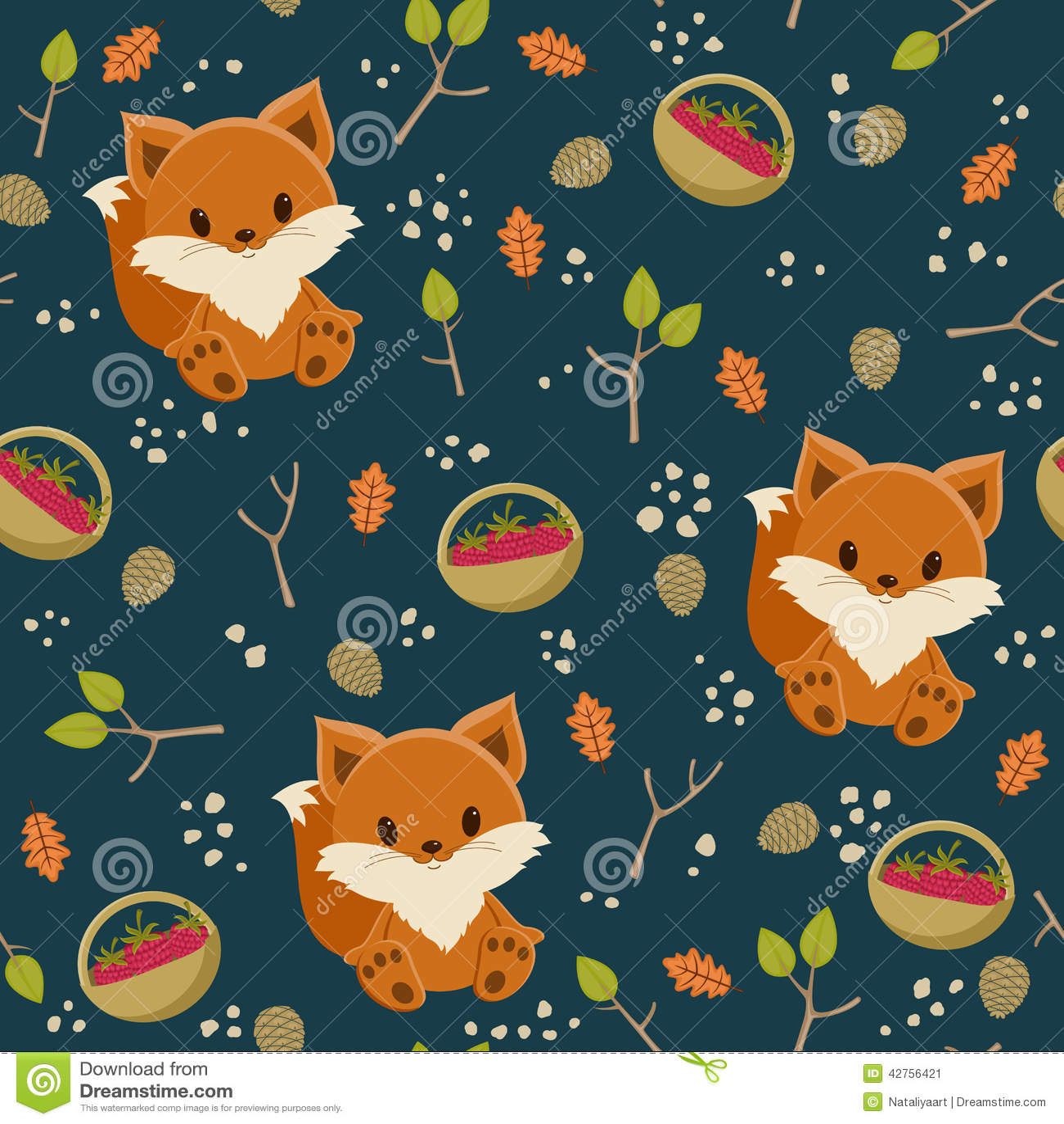 Seamless Fox Wallpaper Stock Vector Image 42756421