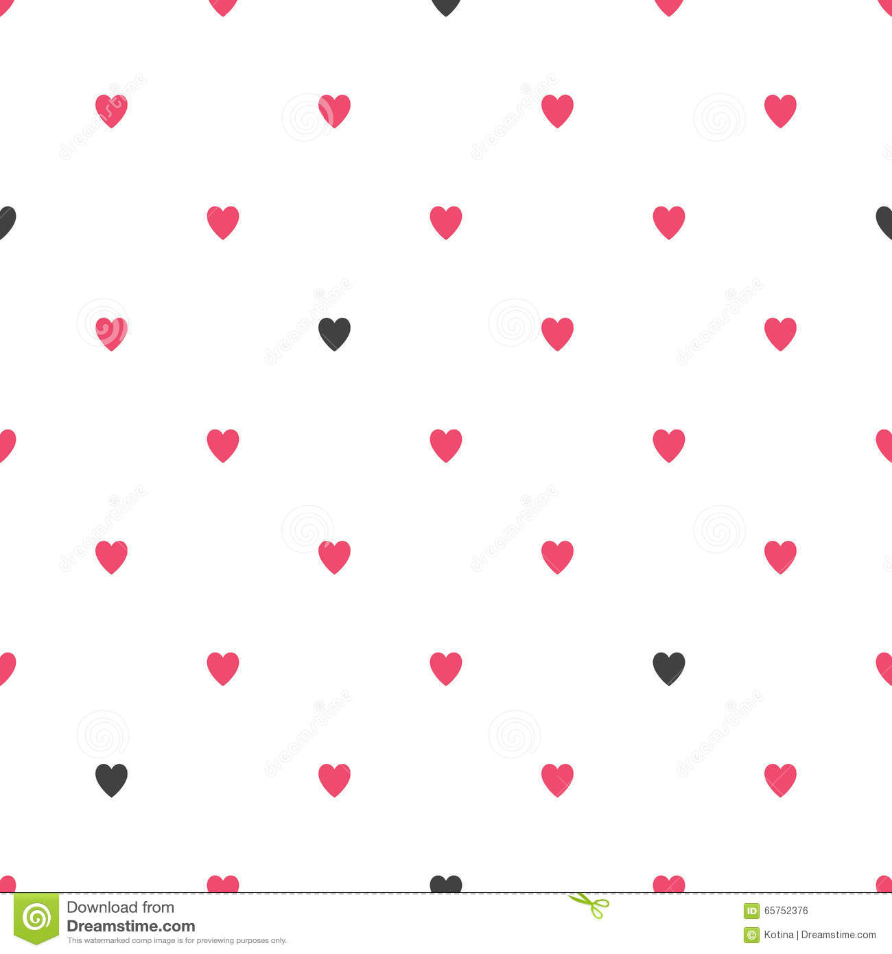 Seamless Geometric Pattern With Hearts Vector Repeating