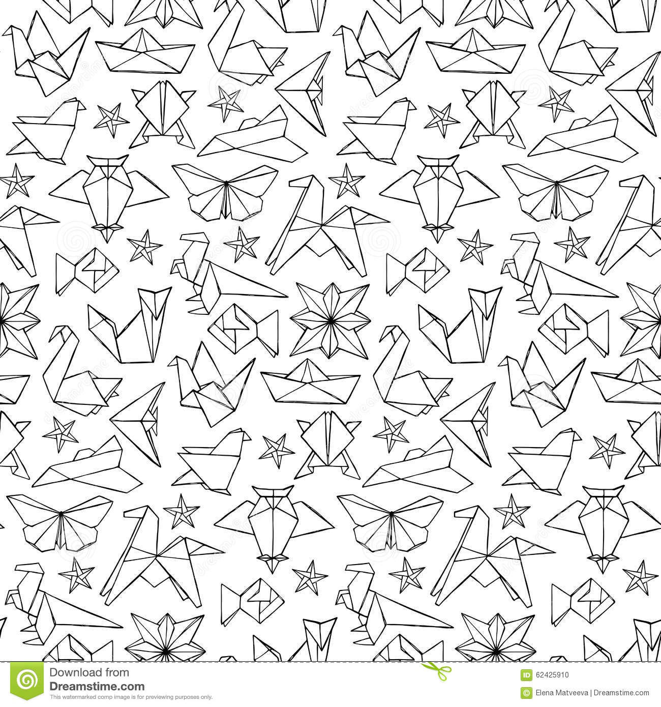 Seamless Hand Drawn Doodle Origami Pattern Stock Vector