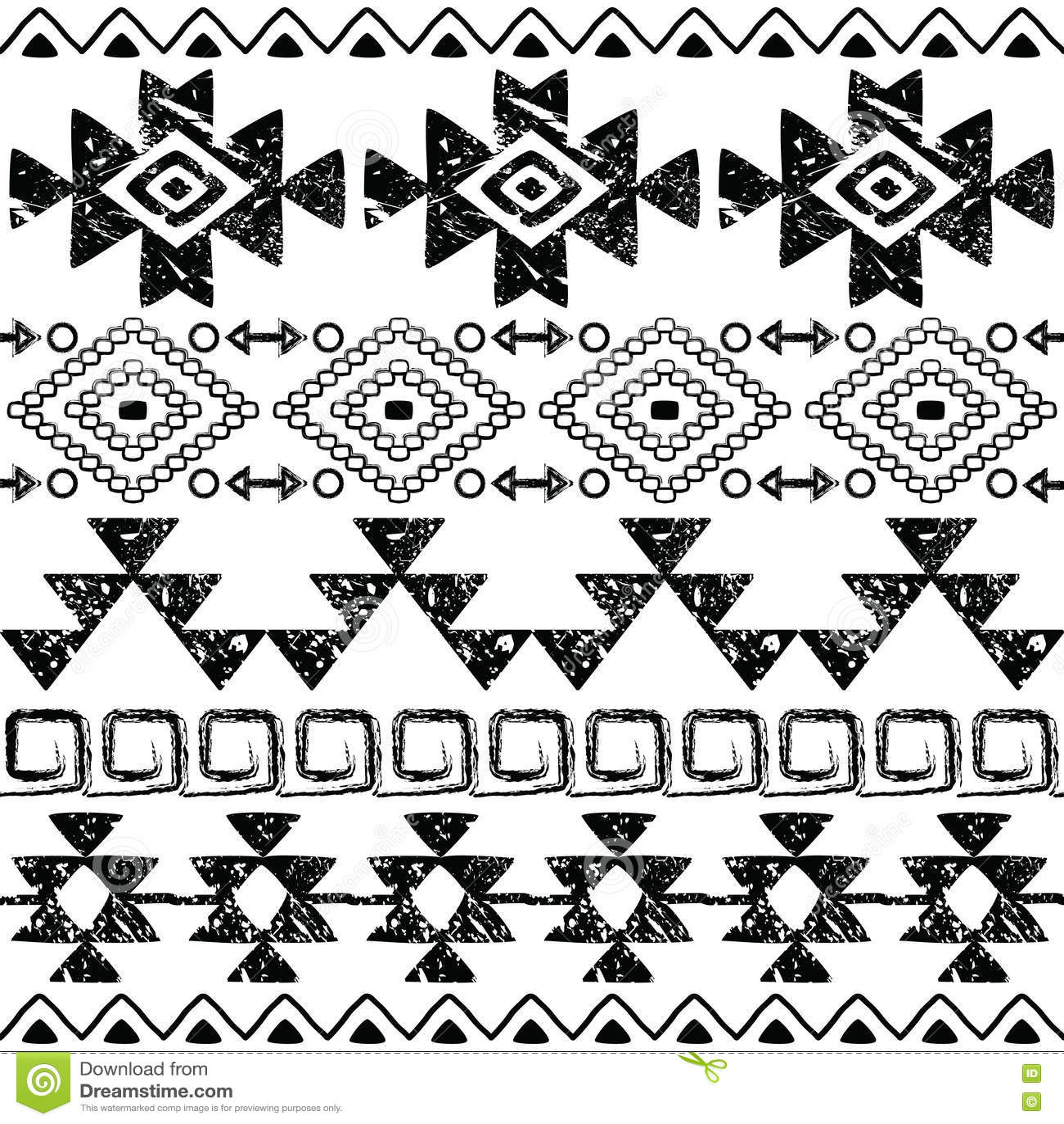 Seamless Navajo Hand Drawn Print Retro Aztec Pattern