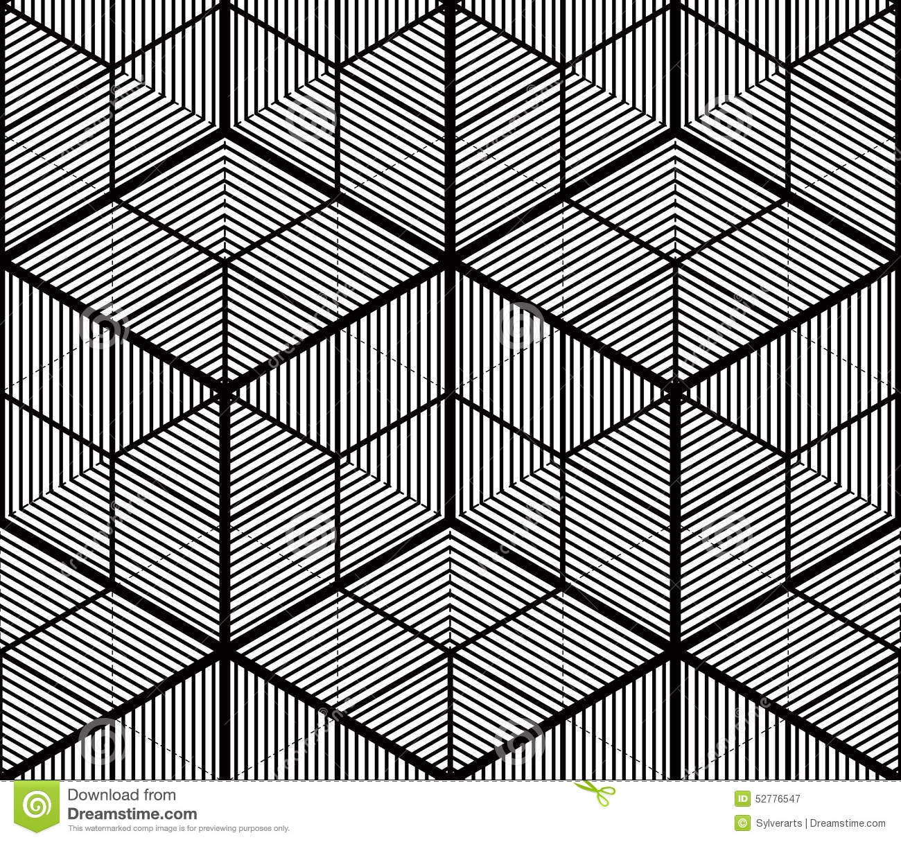 Seamless Optical Ornamental Pattern With Three Dimensional Geome