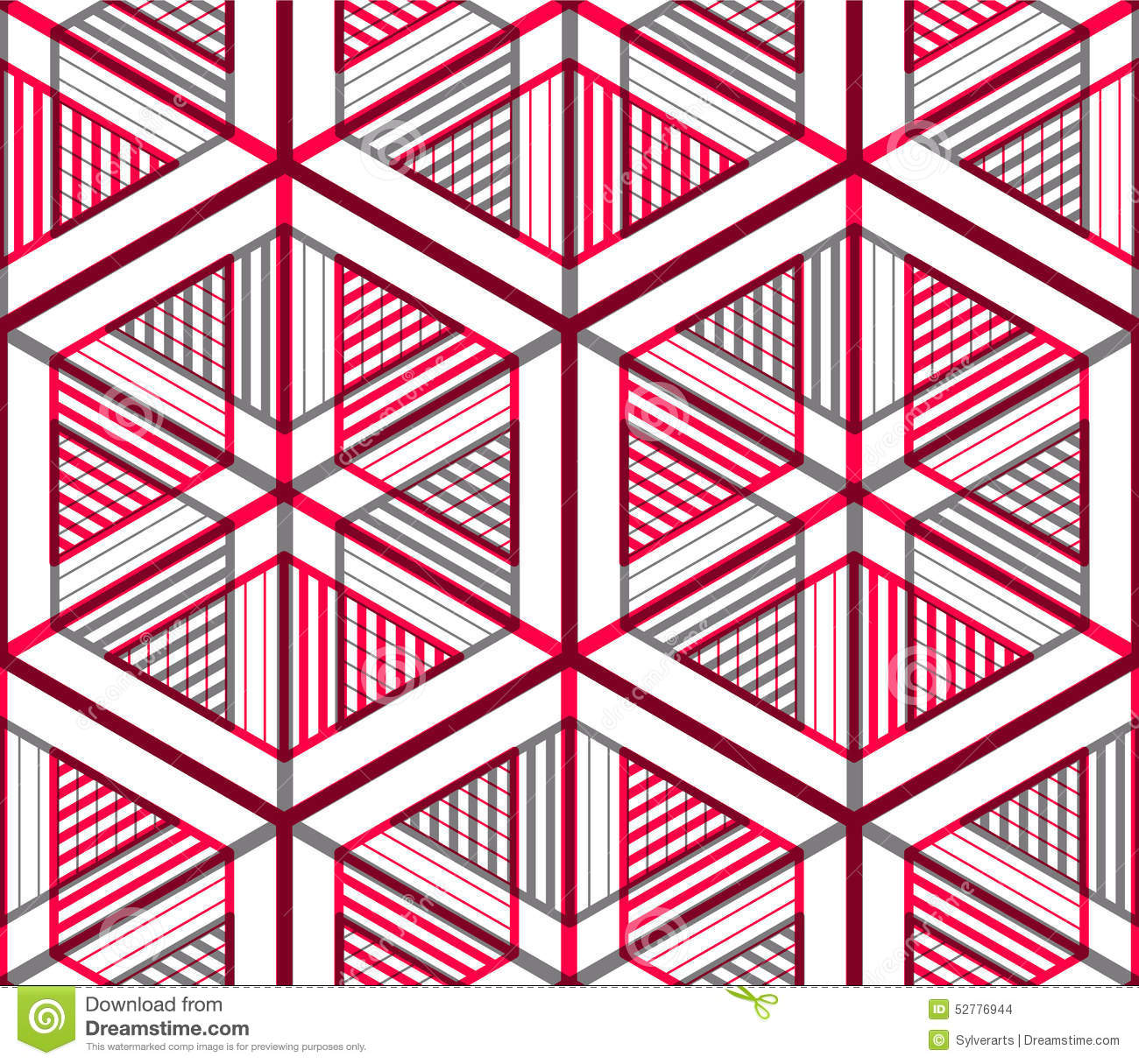 Seamless Optical Ornamental Pattern With Three Dimensional Geome Stock Vector