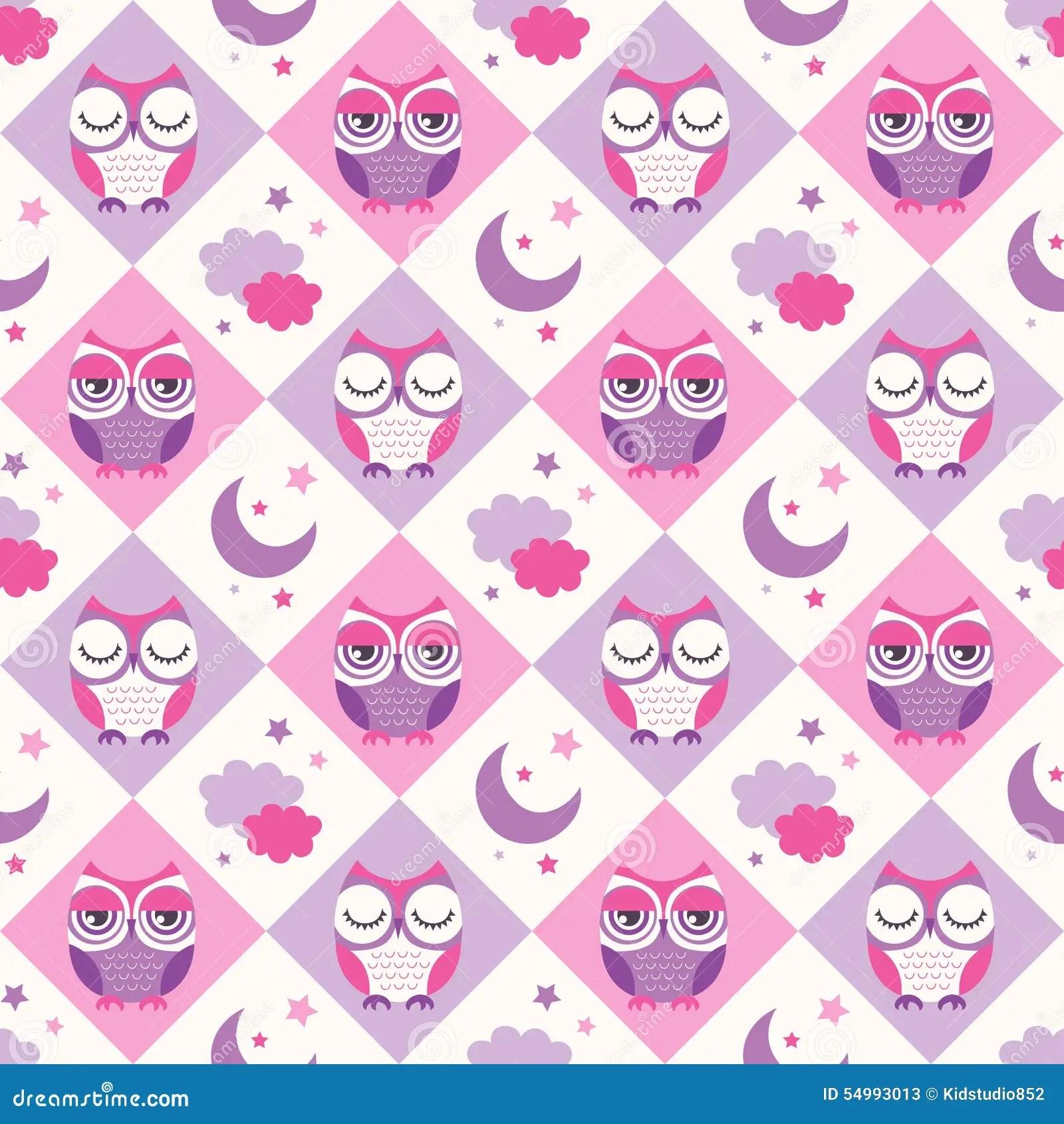Seamless Owls Birds Bedroom Background Stock Vector
