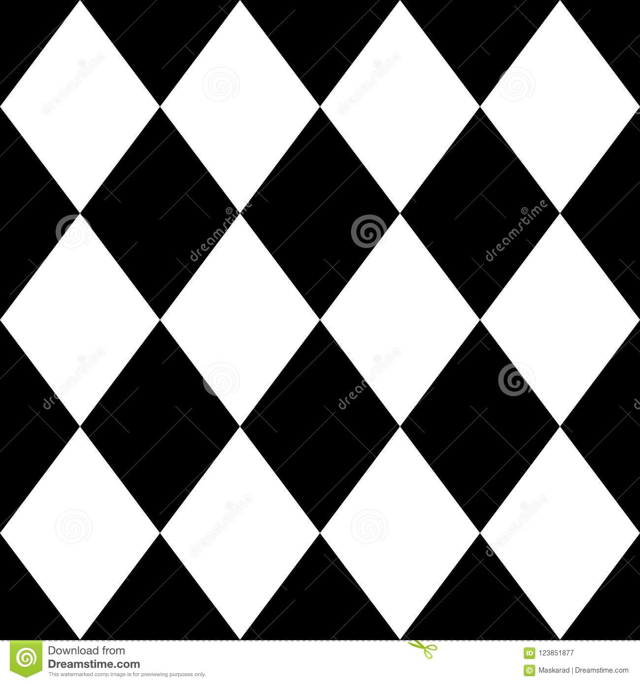 Seamless Pattern With Black And White Diamonds Vector