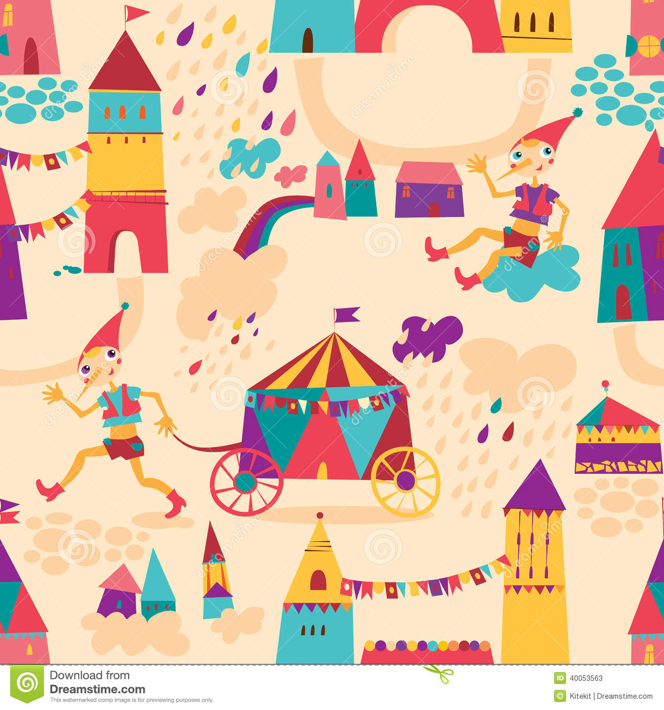 Seamless Pattern With Colorful Houses For Childrens