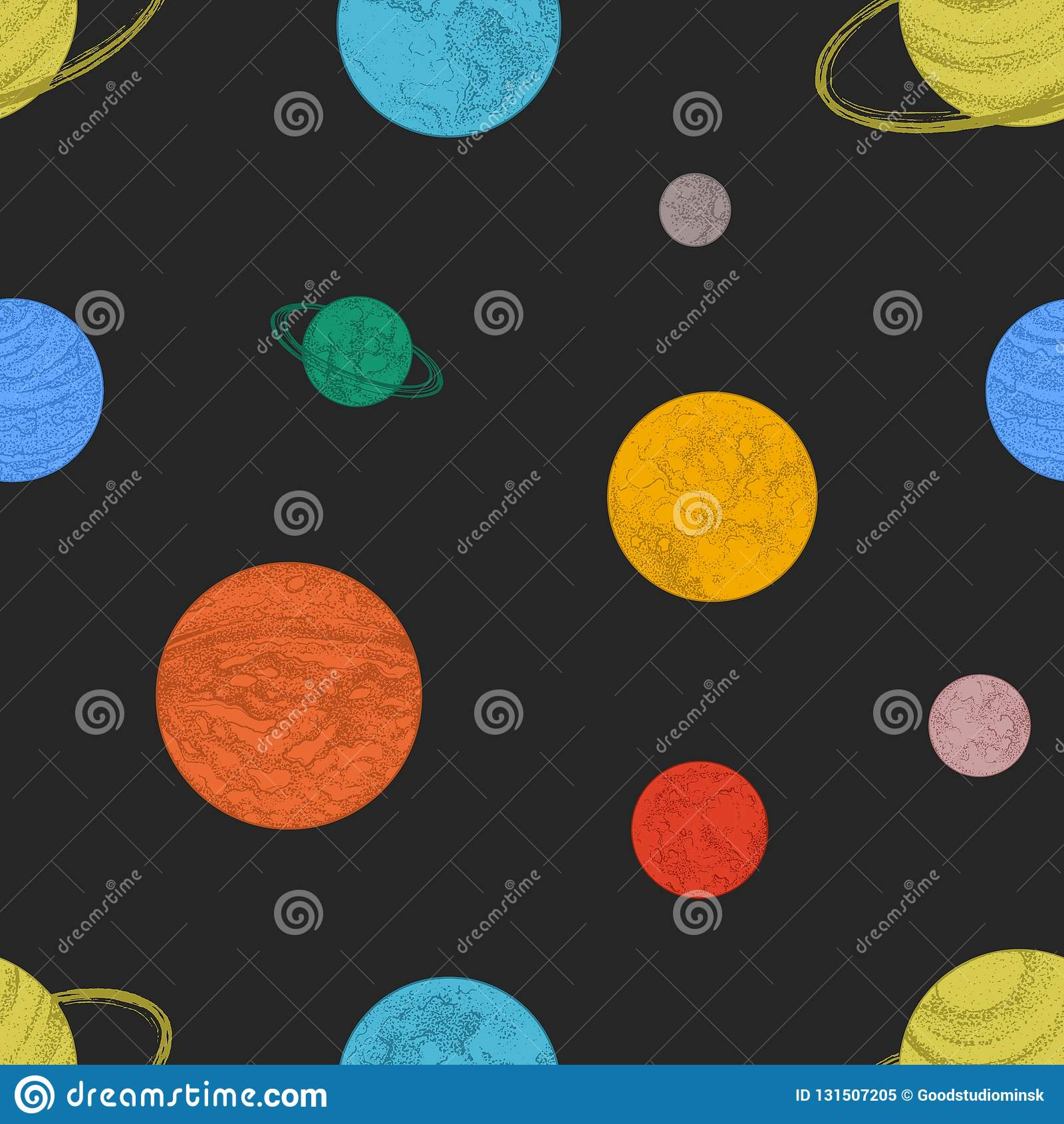 Seamless Pattern With Colorful Planets And Other Space