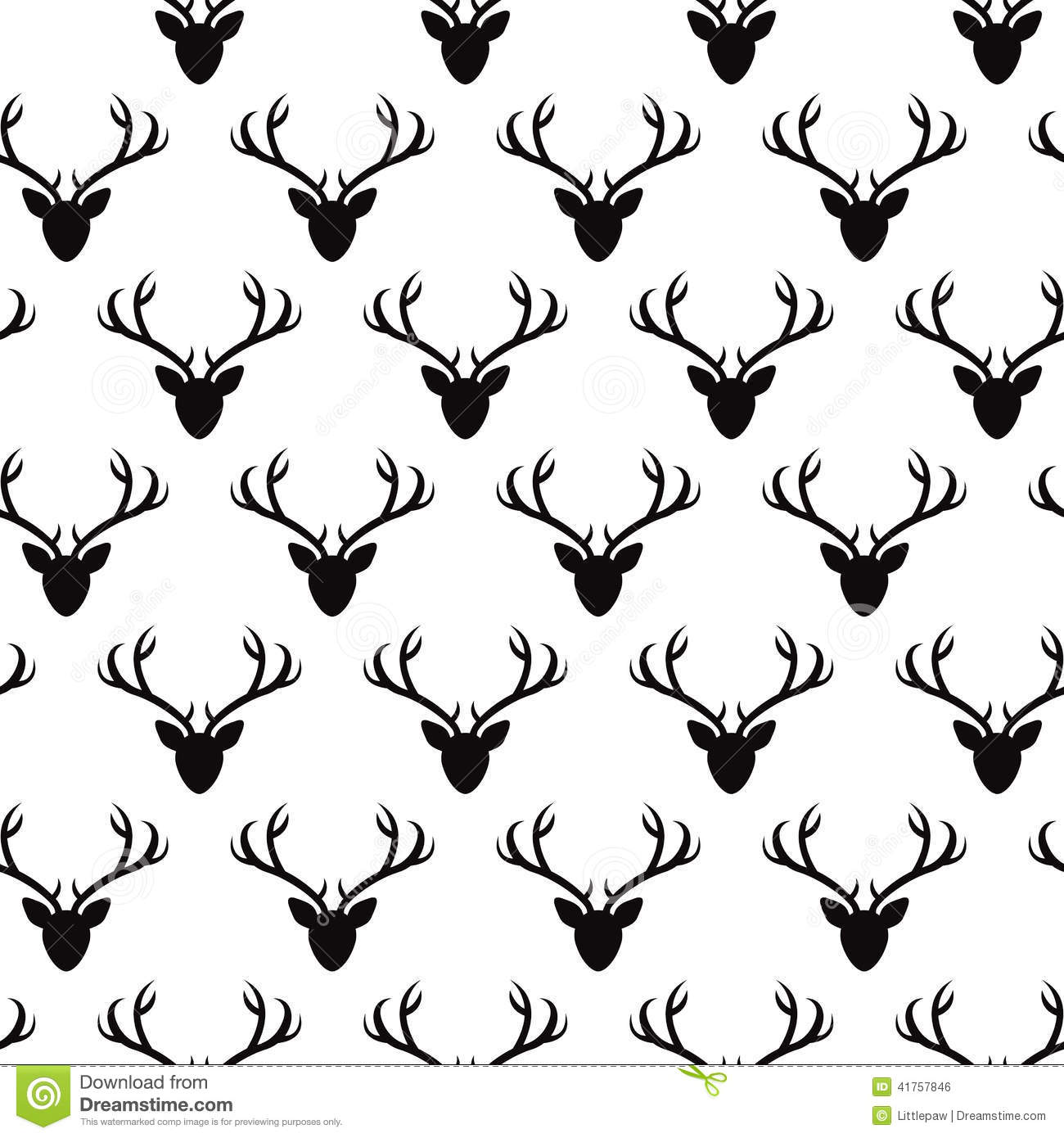 Seamless Pattern With Deer Heads Silhouettes Stock Vector