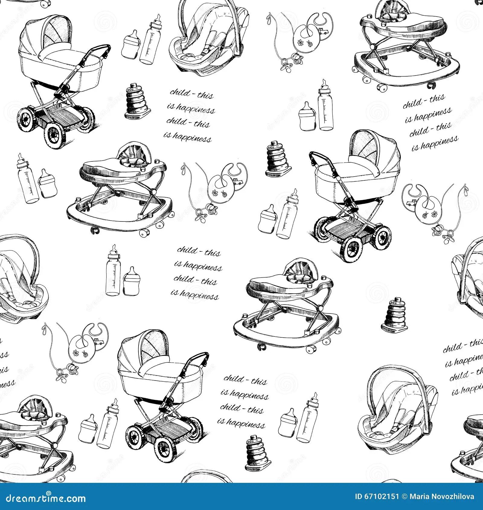 Hand Drawn Baby Carriage Cartoon Vector
