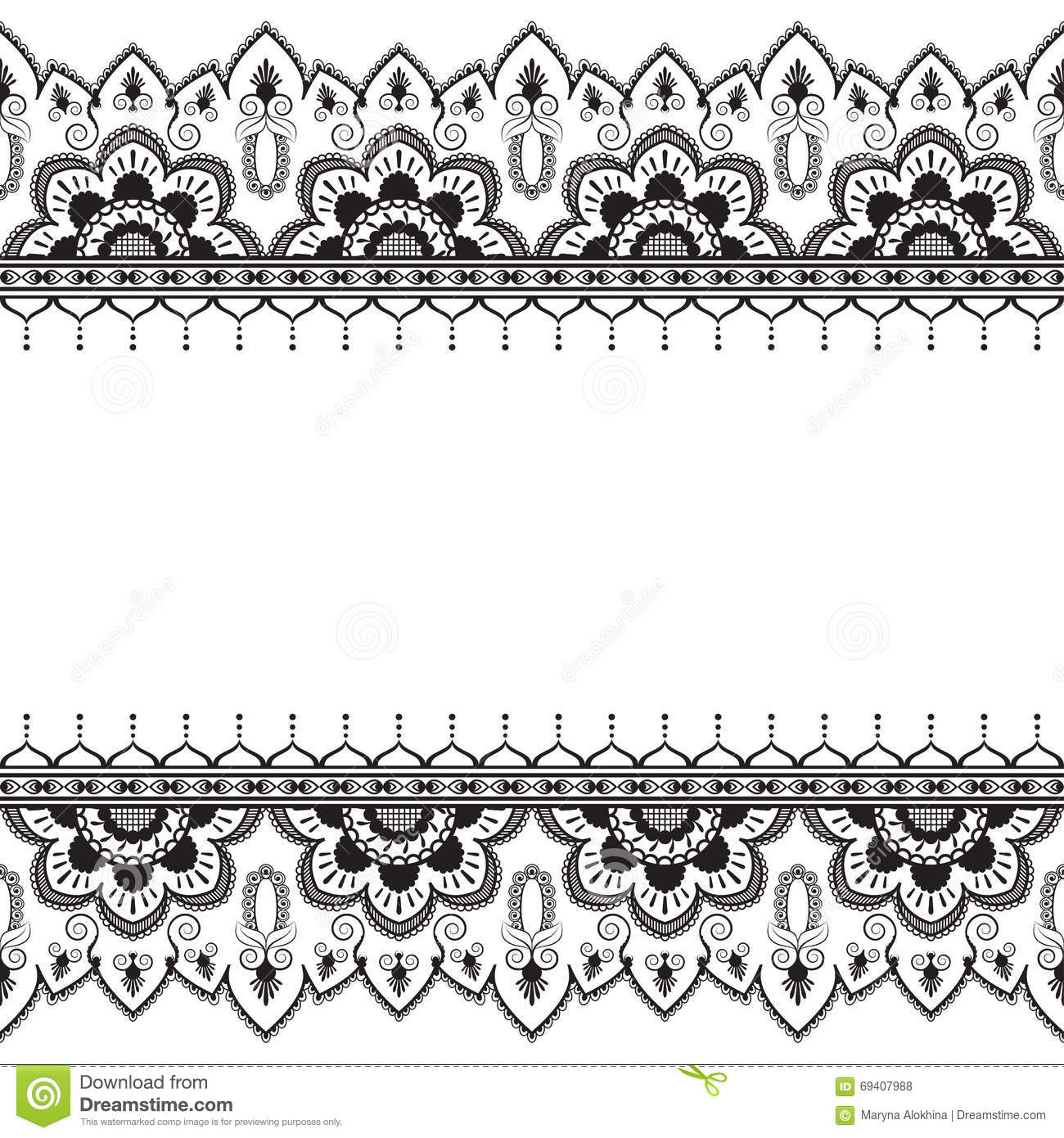 Seamless Pattern Mehndi Border Elements In Indian Style