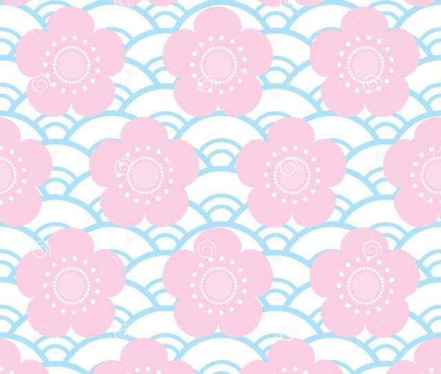 Seamless Pattern Pink Flowers Japanese Cherry Blossoms On Blue White Background Asian Simple Ornament