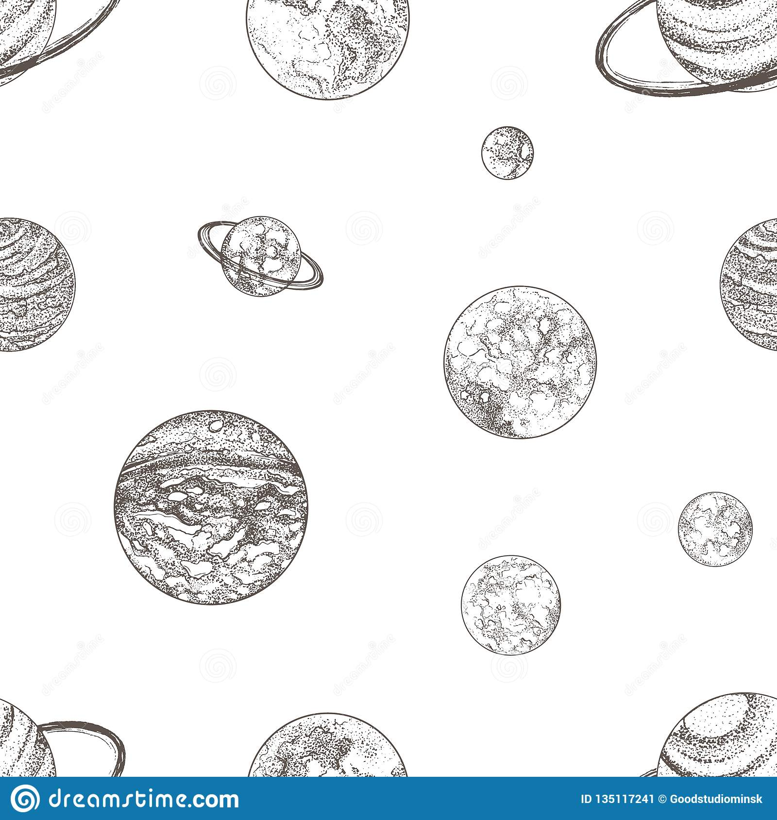 Seamless Pattern With Planets Of Solar System And Other