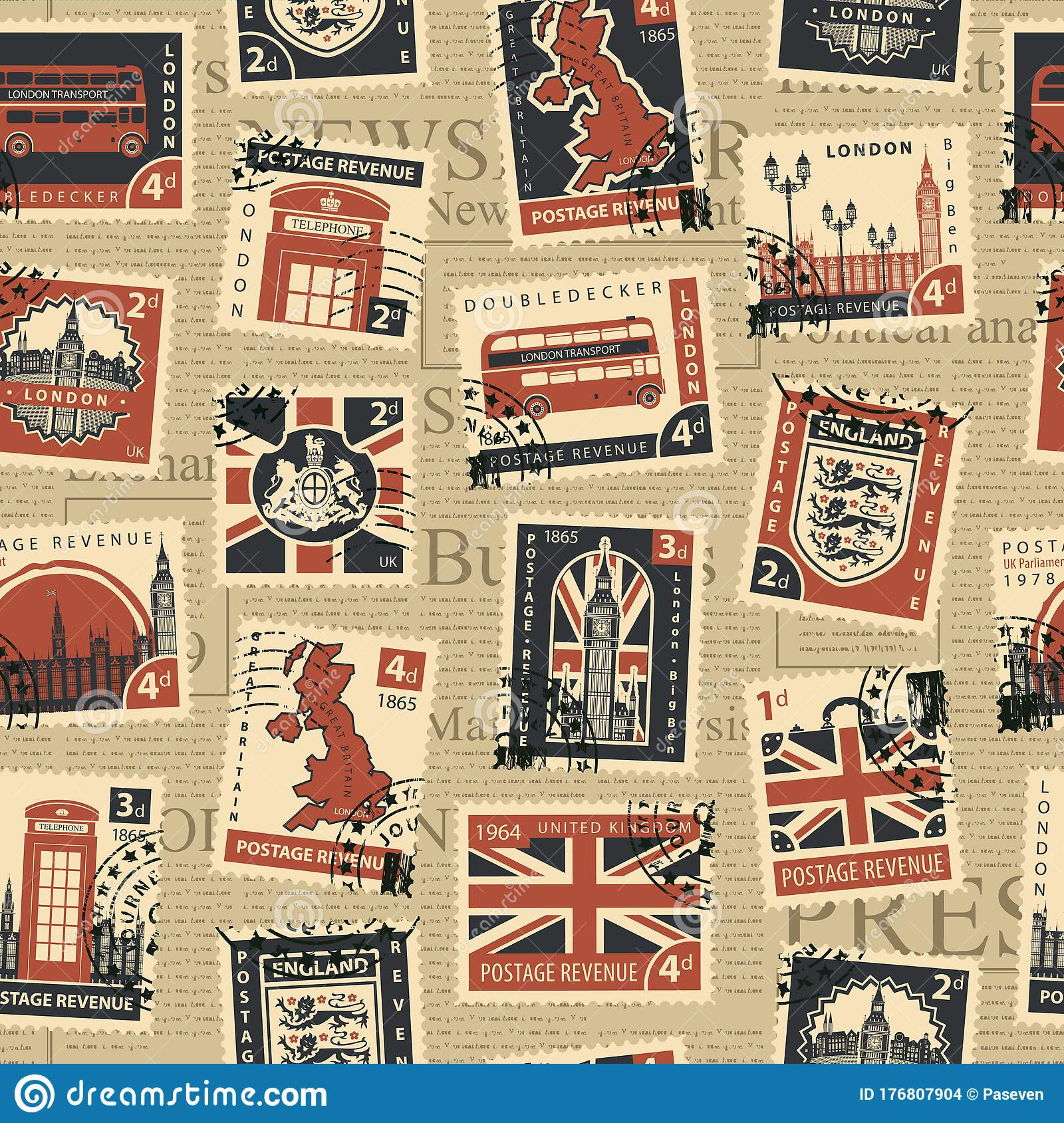 Seamless Pattern With Postage Stamps On Uk Theme Editorial