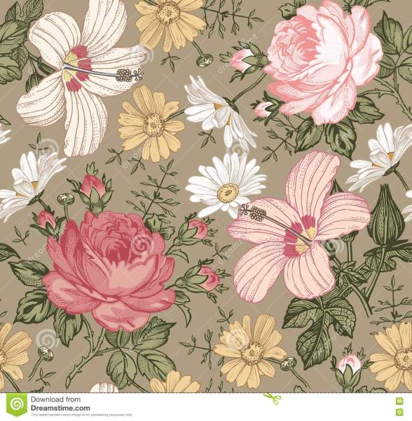 Seamless Pattern  Realistic Isolated Flowers  Vintage Background     Download comp