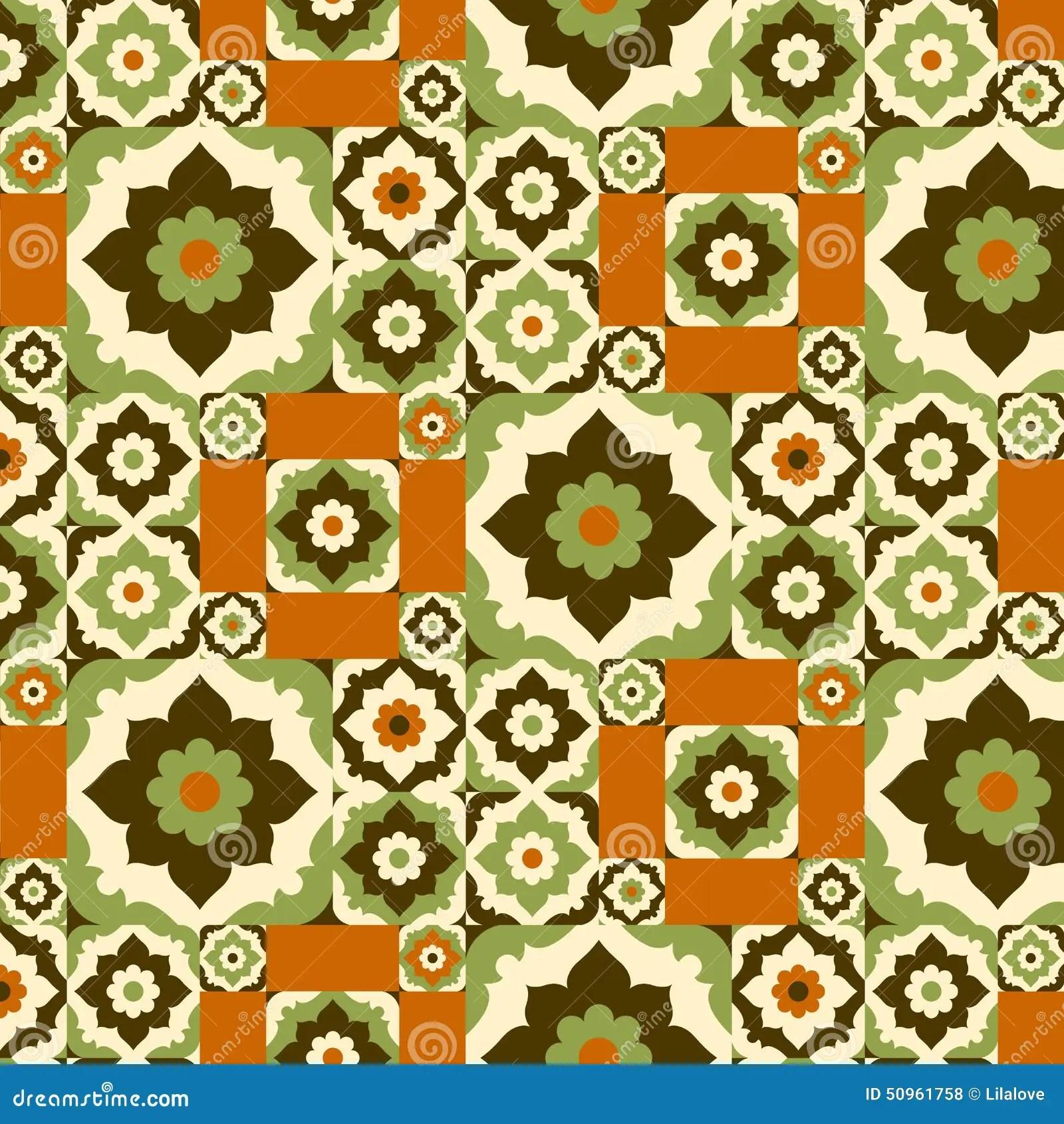 seamless pattern retro ceramic tile design with floral ornate stock vector illustration of circle orange 50961758