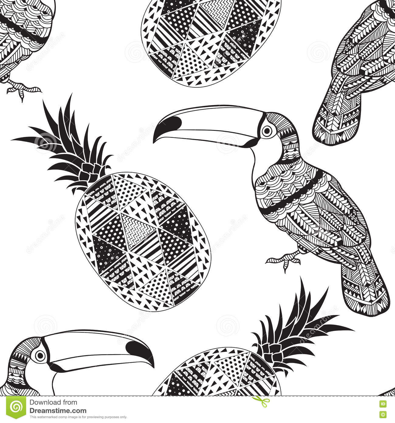 Seamless Pattern With Toucans And Pineapples Black And