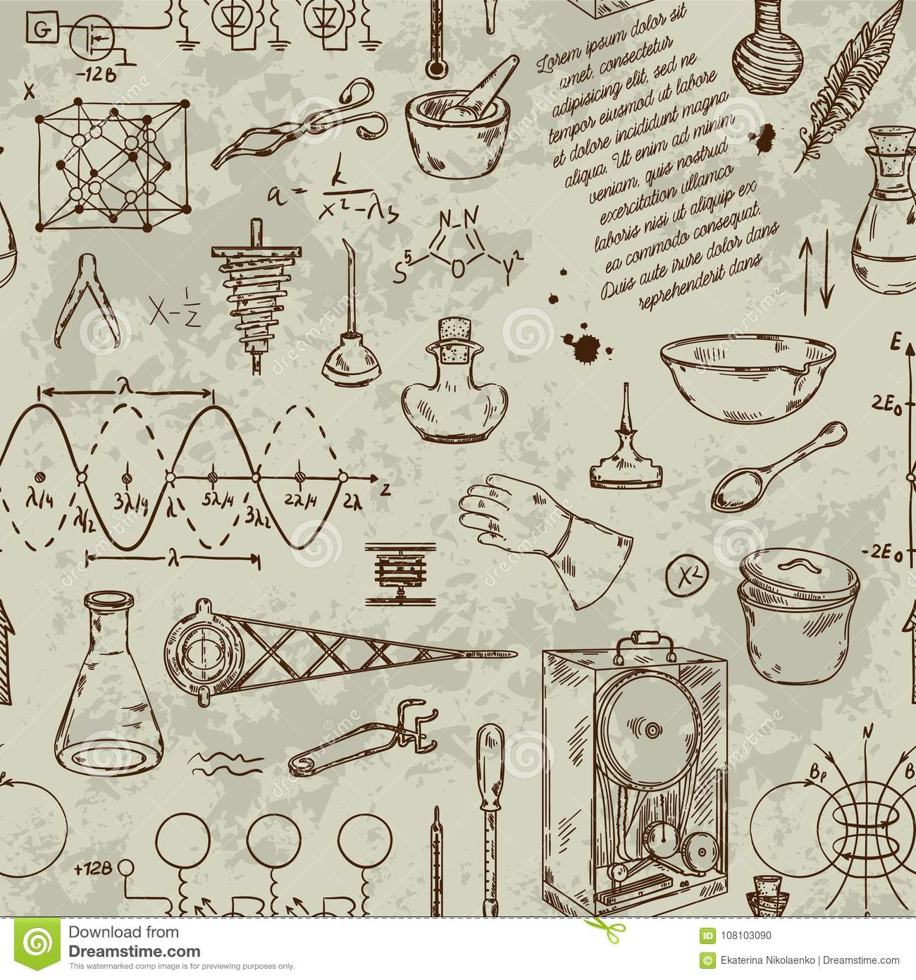 Seamless Pattern With Vintage Science Objects Scientific