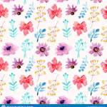 Seamless Pattern Watercolor Floral Red And Purple Flowers Stock Vector Illustration Of Floralred Petal 130569861