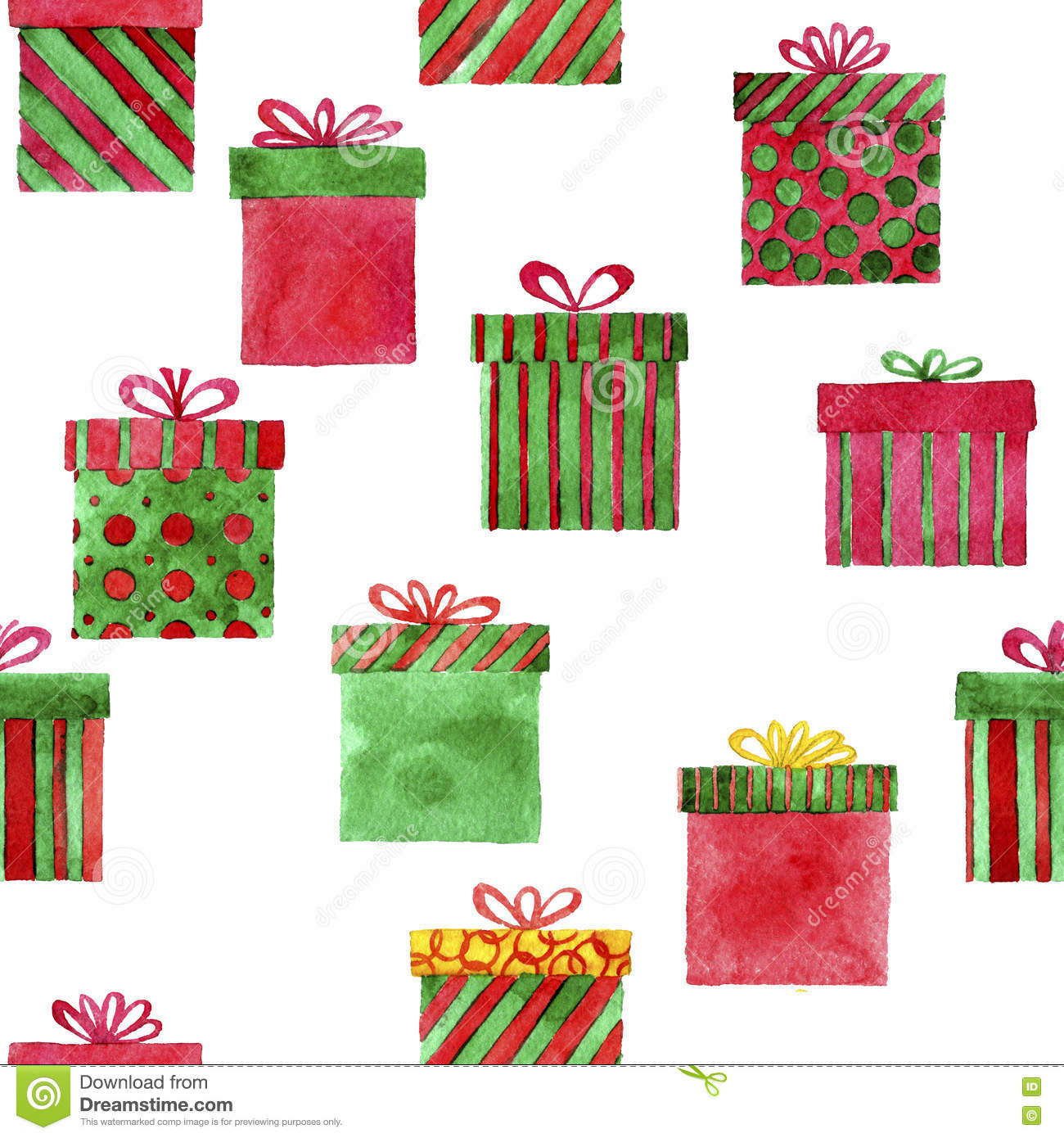 Watercolor Gift Boxes Stock Image