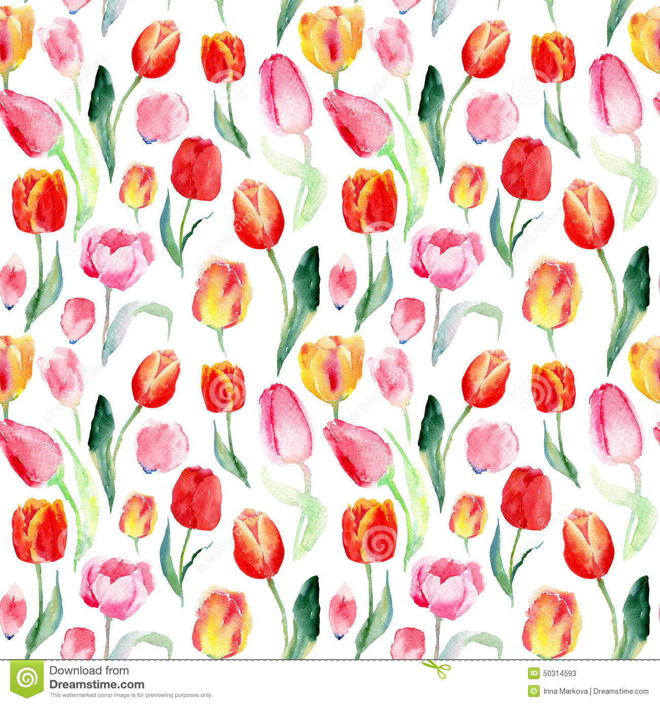 Seamless Pattern Of Watercolor Pink Red And Yellow Tulips