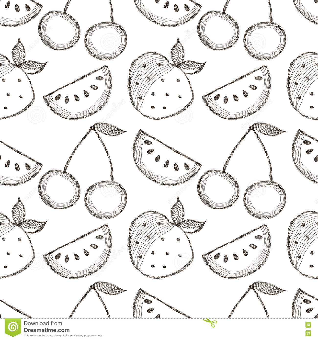 Seamless Vector Pattern With Hand Drawn Fruits Black And