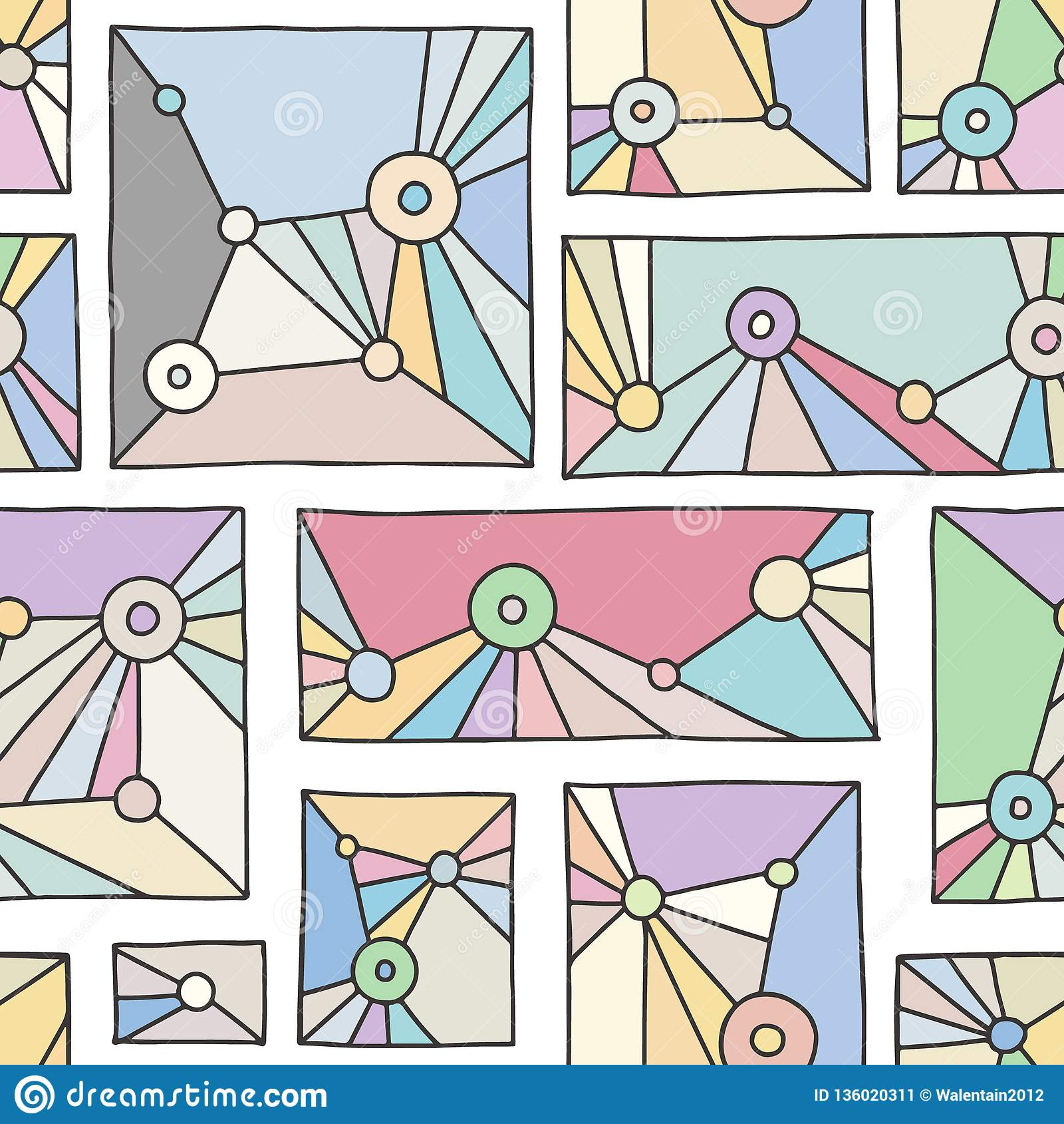 Seamless Vector Pattern Pink Geometrical Hand Drawn