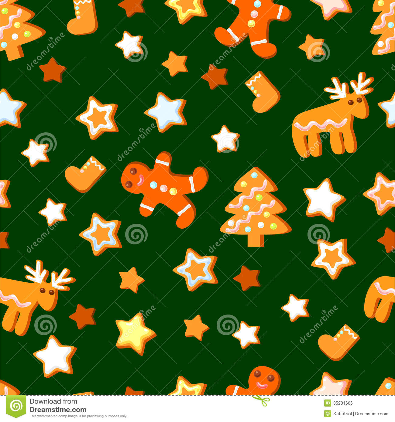 Seamlesspattern With Cute Christmas Cookie Royalty Free