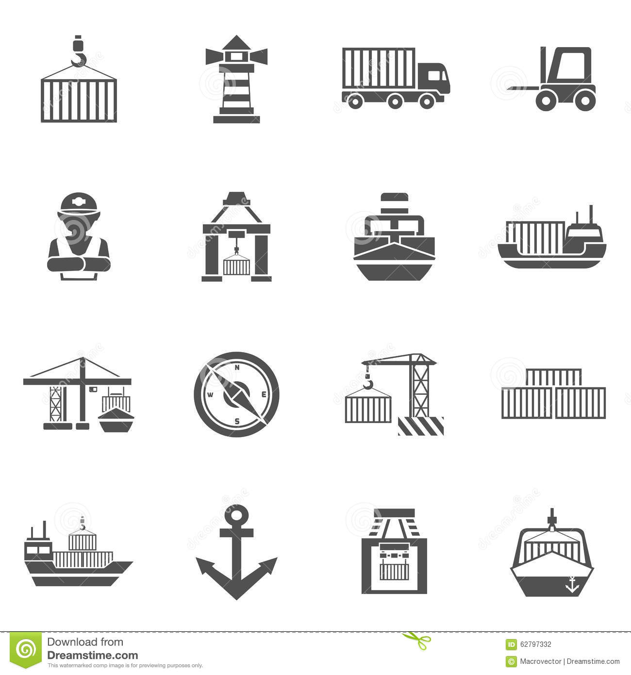 Seaport Black Icons Set Stock Vector Image Of