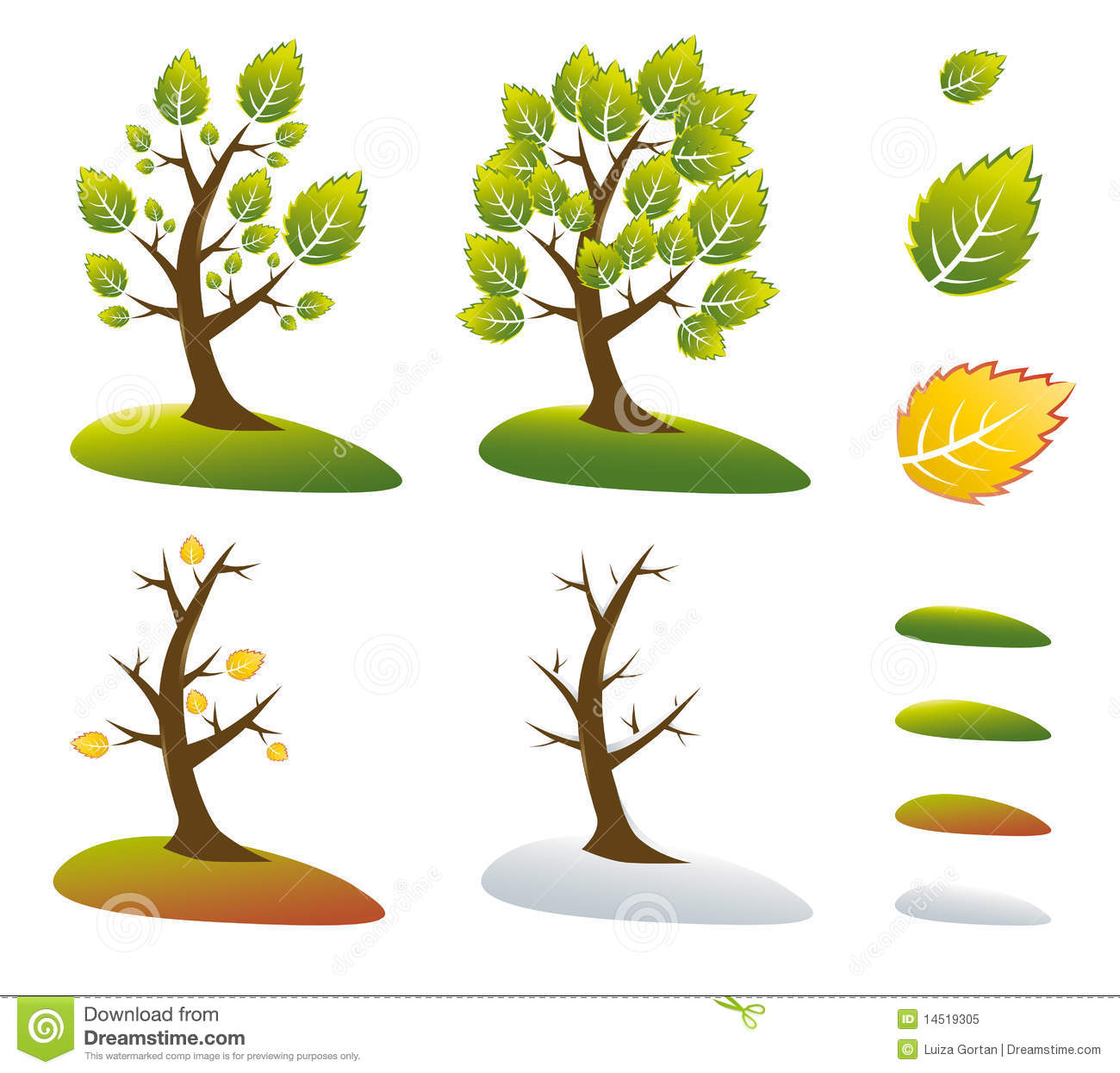 Season Tree Symbols Vector Illustration Stock Vector