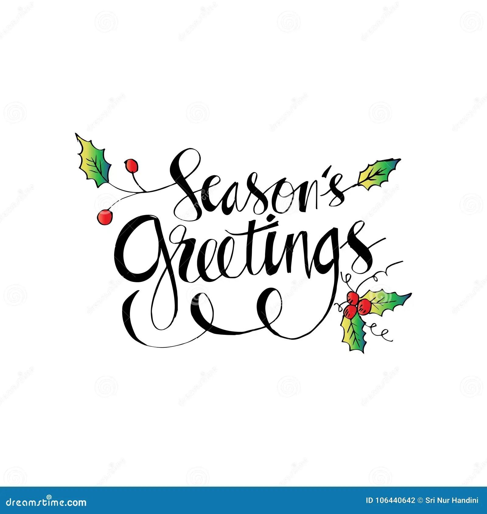 Seasons Greetings Hand Written Lettering Stock