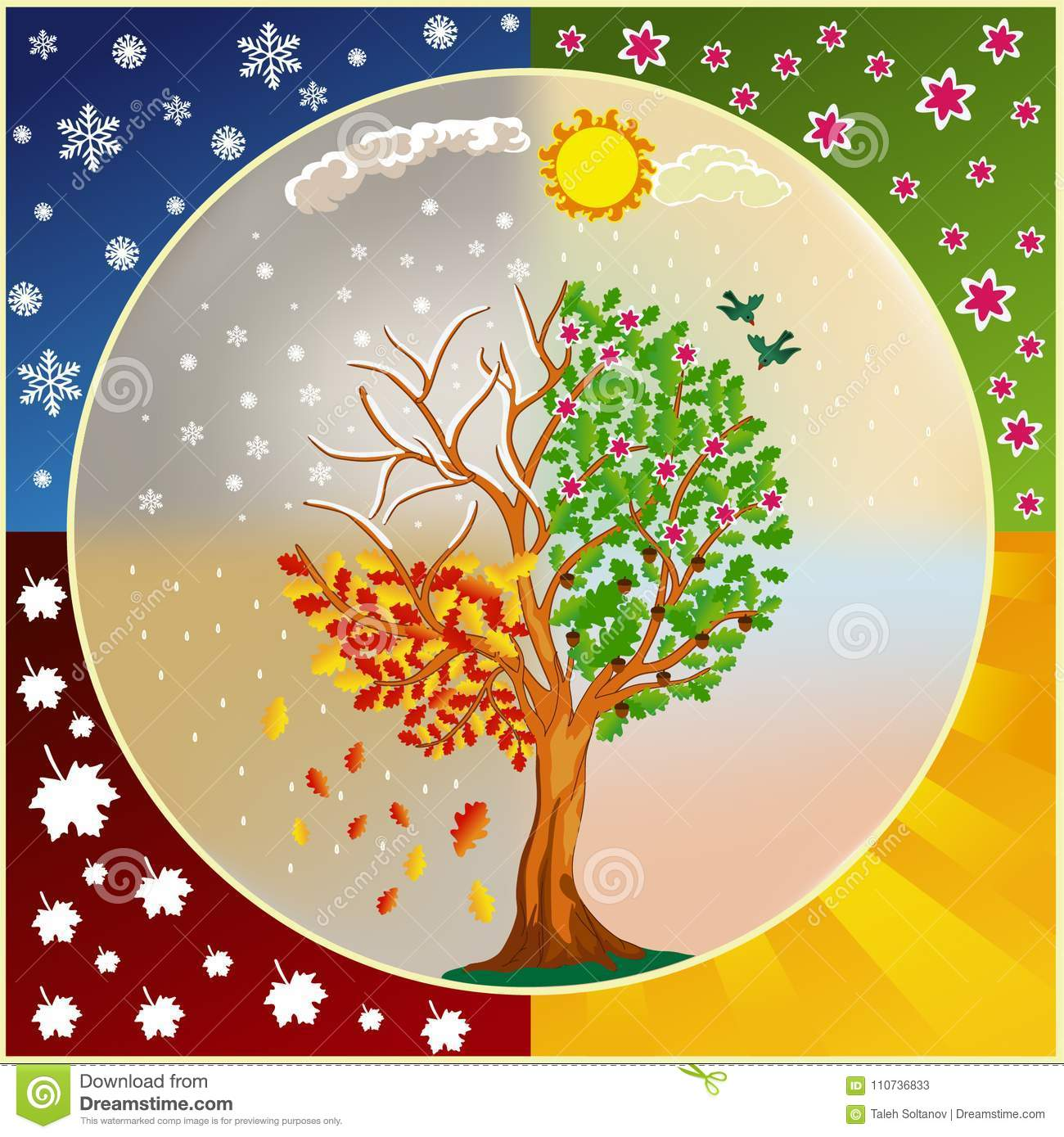 Seasons Of The Year Kids Background Eps Stock Vector