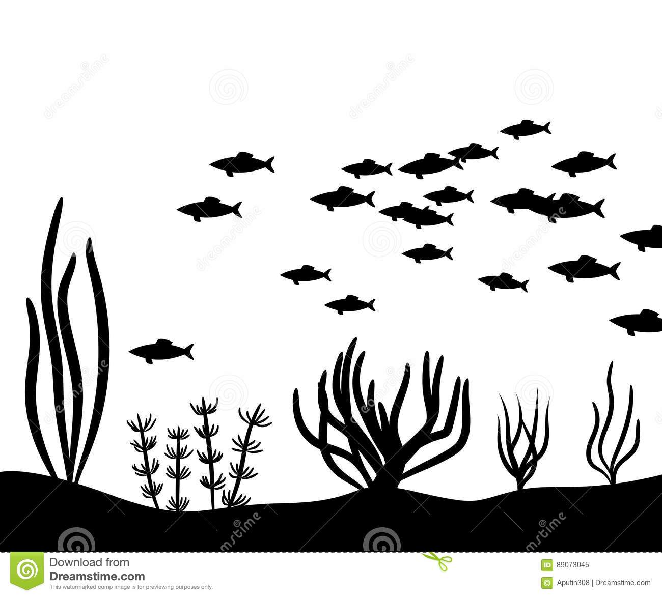 Seaweed At The Bottom Of The Sea And School Fish Vector