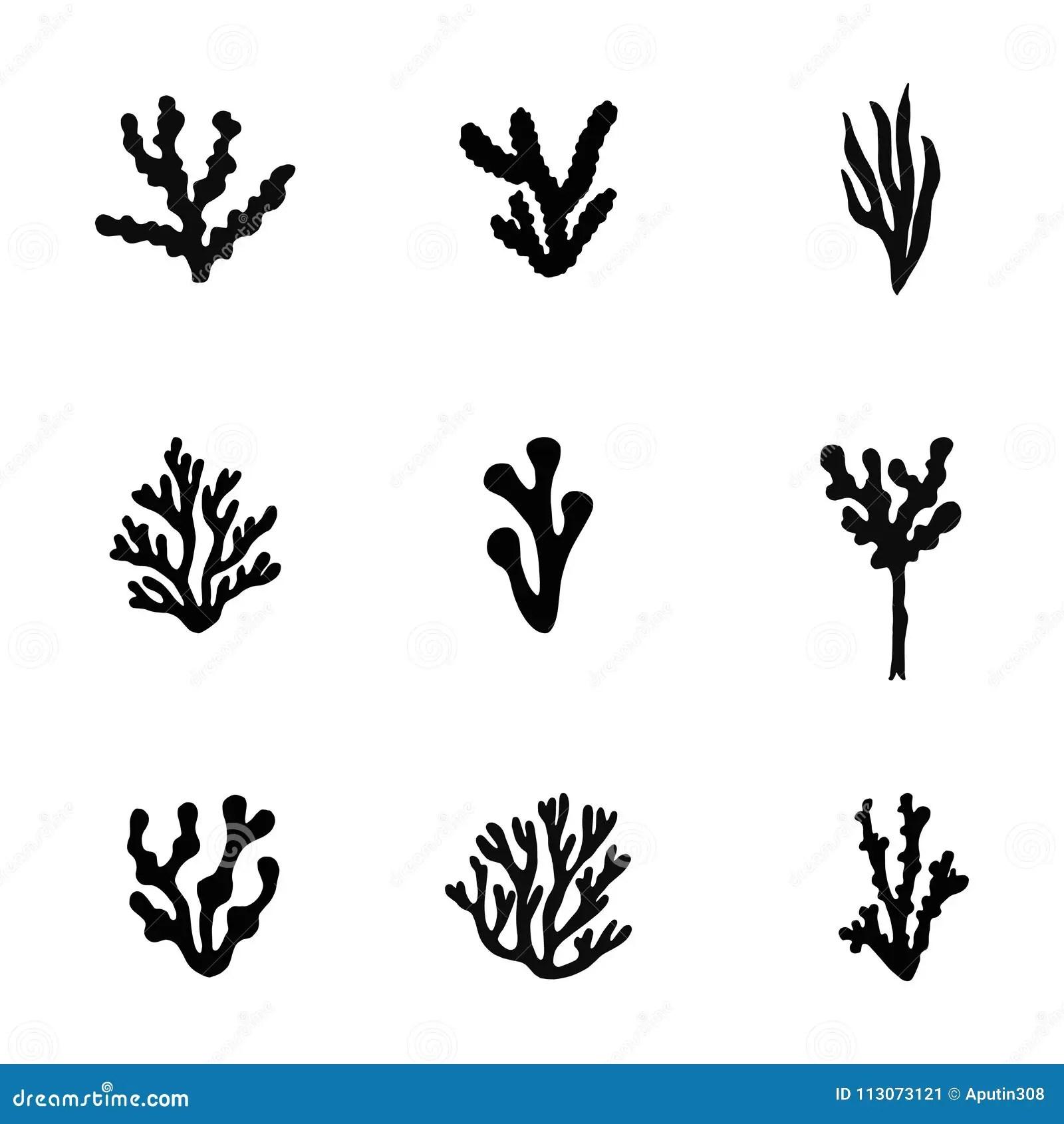 Seaweed Sea Black Silhouette Vector Set Isolated Stock