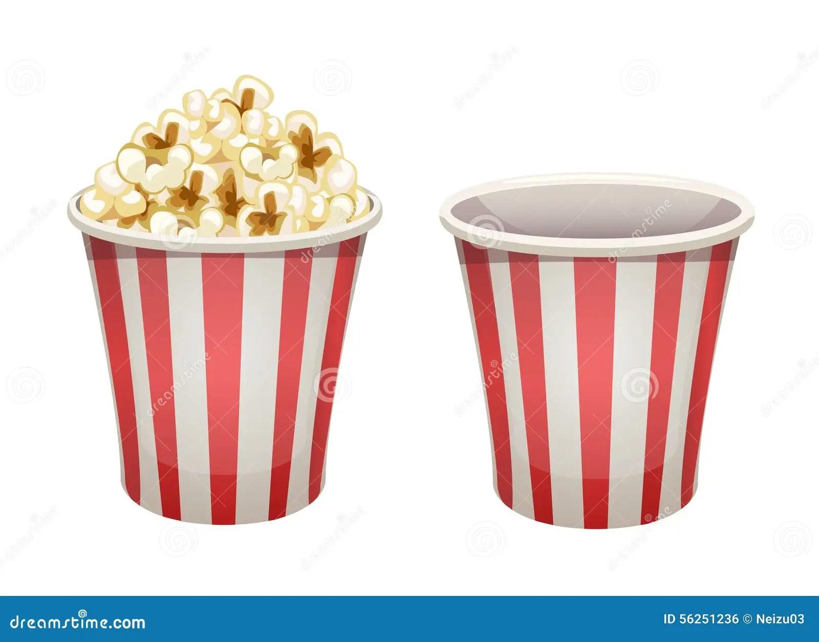 Secchio Del Popcorn Pieno E Vuoto Illustrazione Di Stock