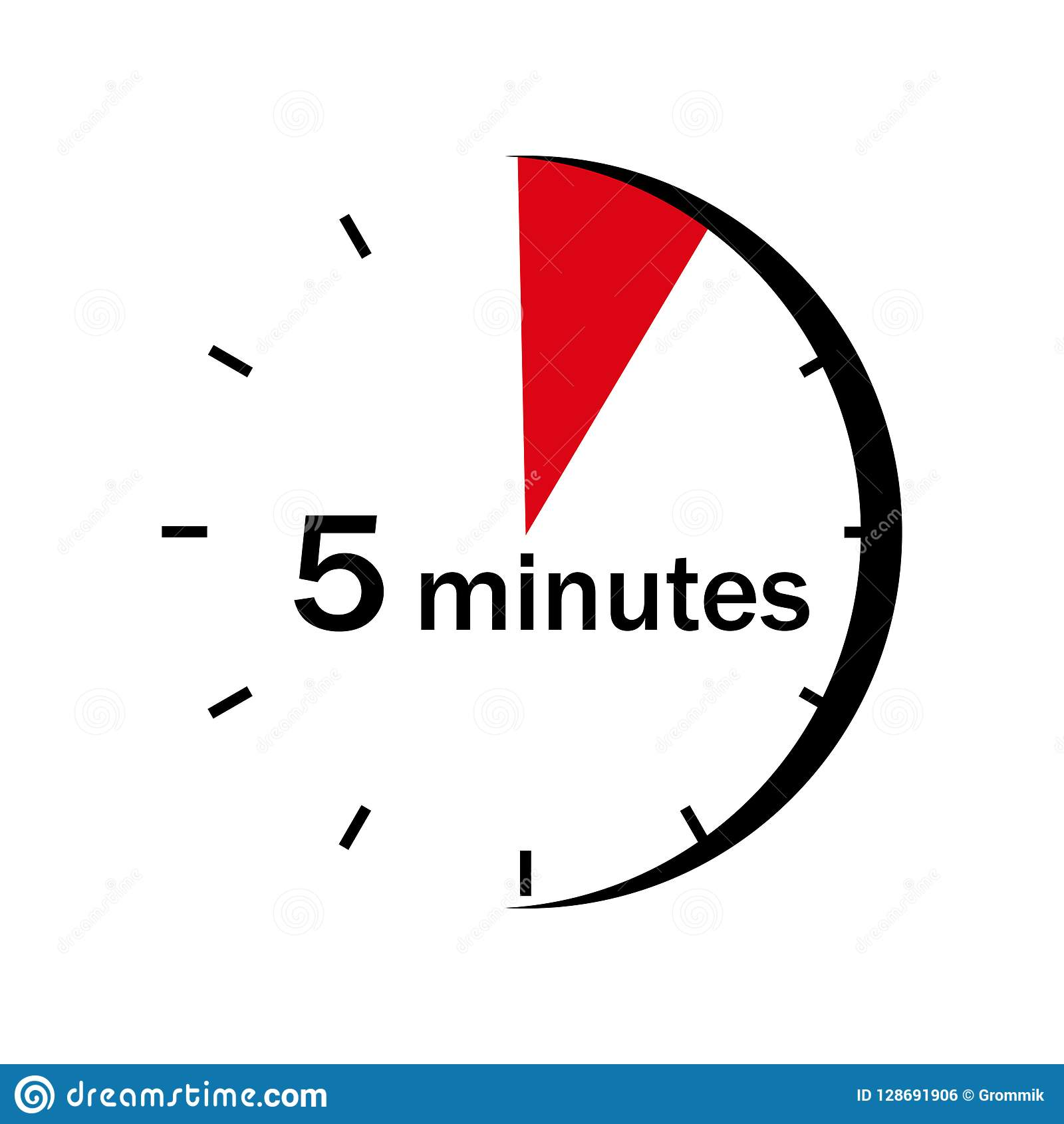 The Sector Of 5 Minutes Is Marked On The Clock Face Stock