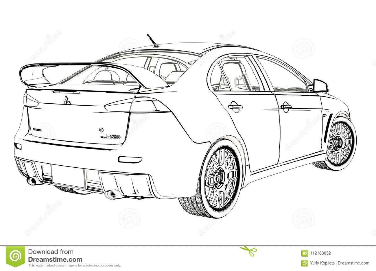 Sedan Mitsubishi Evolution X Sketch 3d Illustration