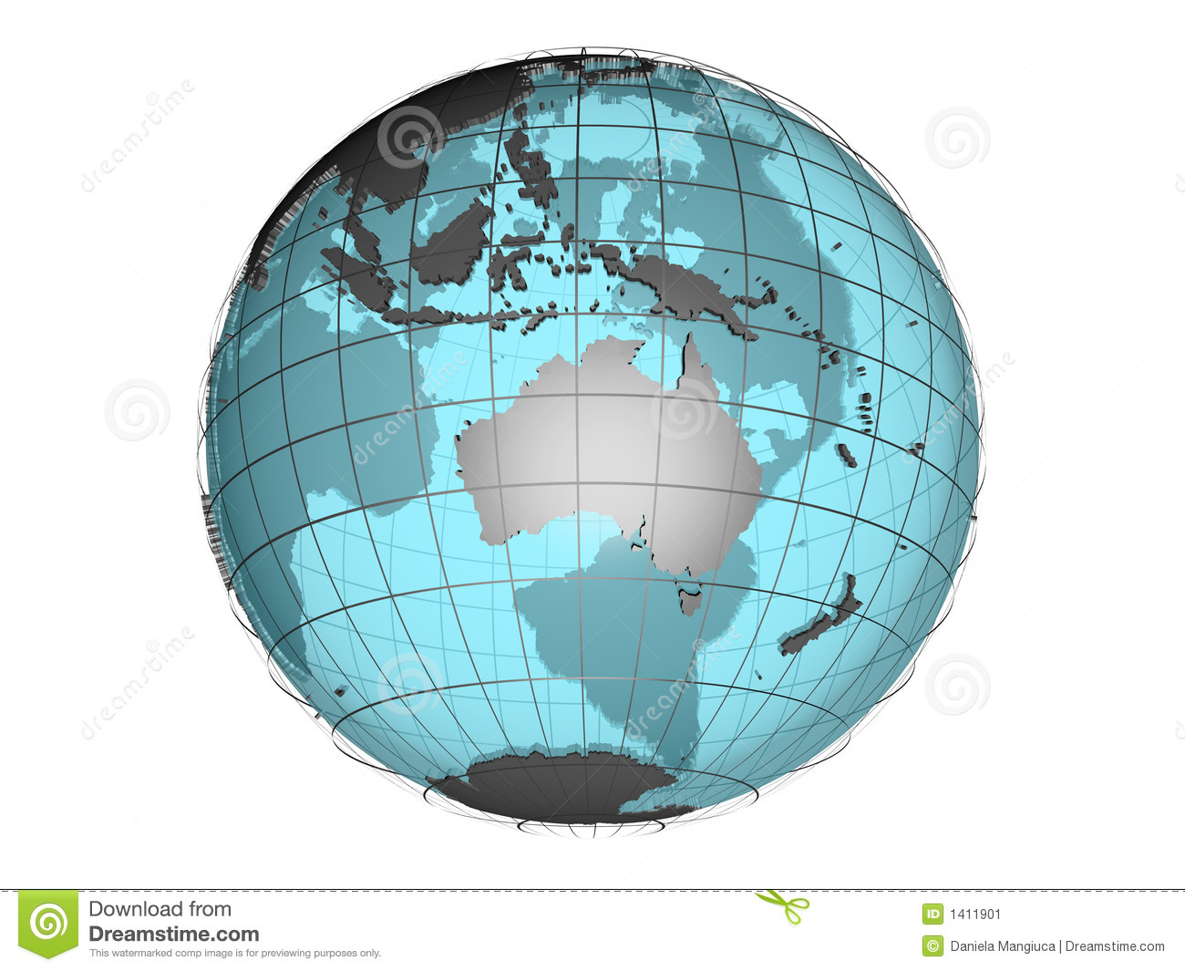 See Through 3d Globe Model Showing Australia And Oceania