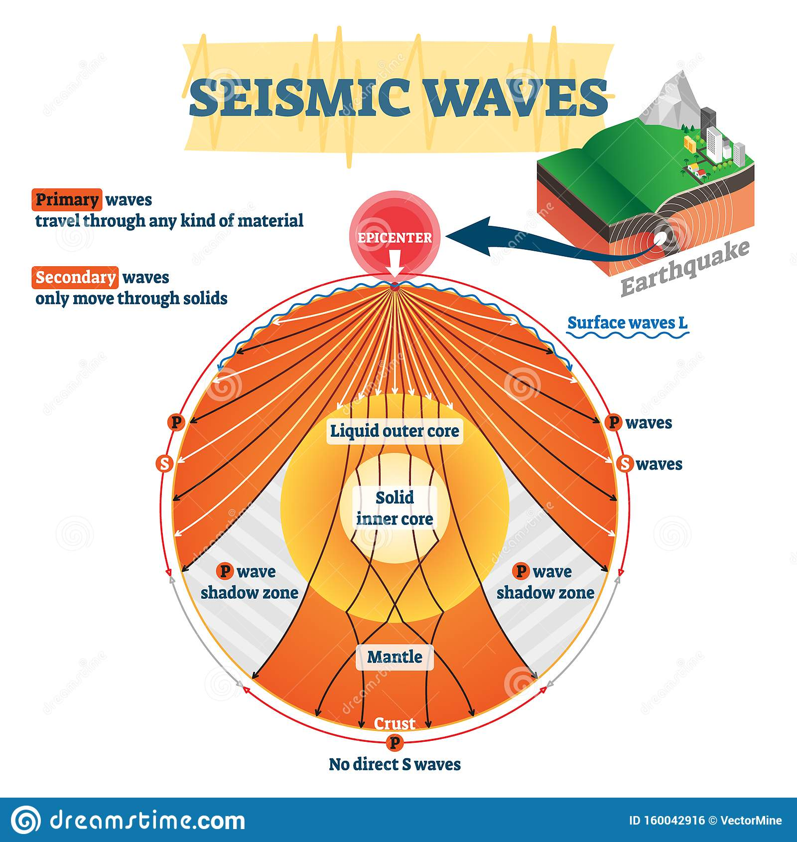 Seismic Waves Vector Illustration Labeled Educational