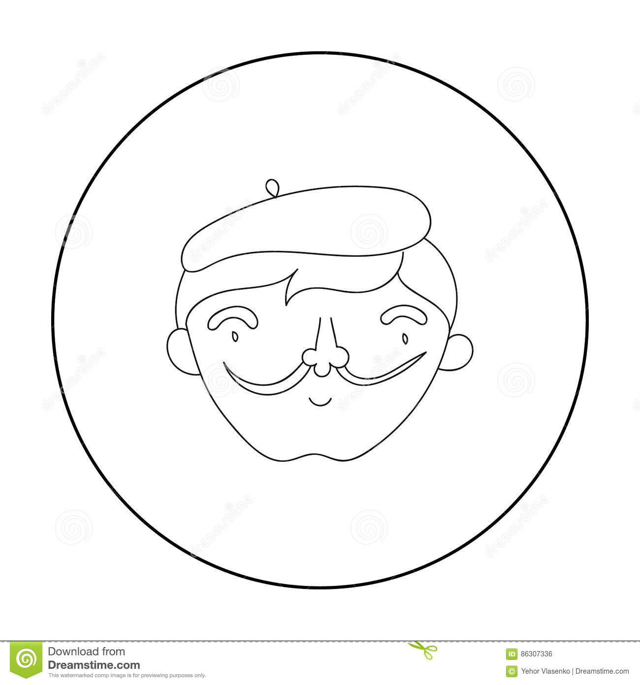 Self Portrait Of Artist Icon In Outline Style Isolated On
