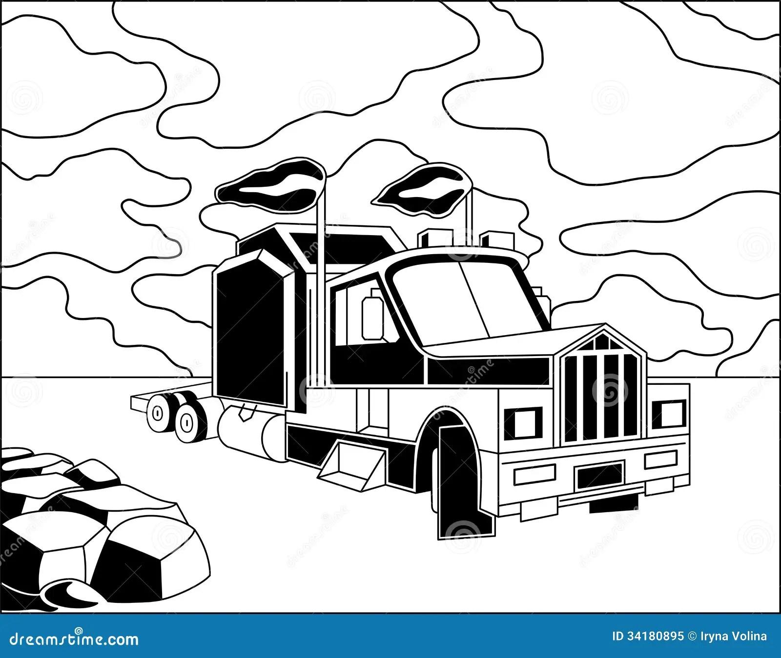Semi Truck Cartoon Vector
