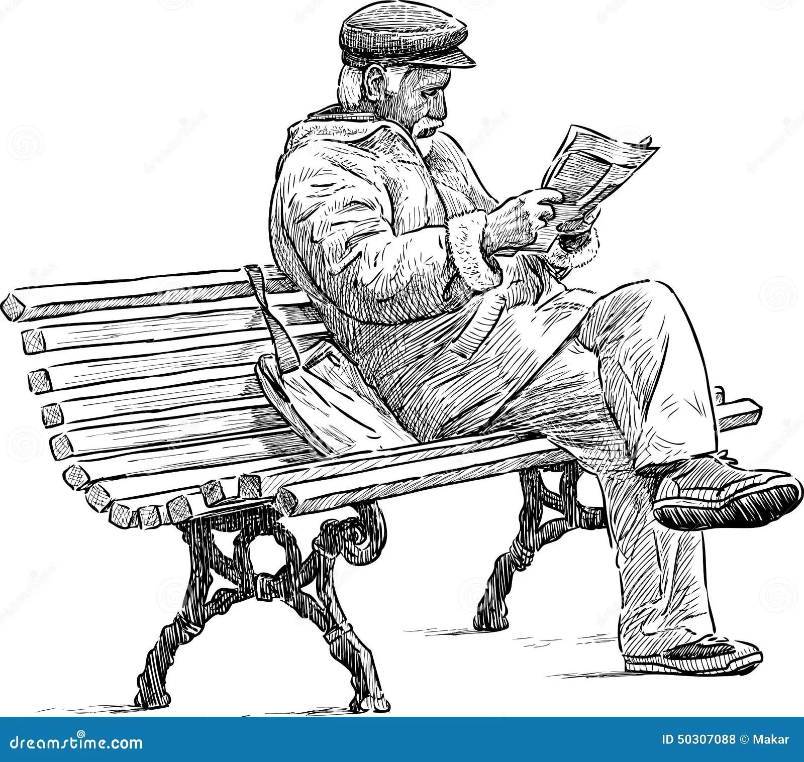 Senior Reading A Newspaper Stock Vector Illustration Of