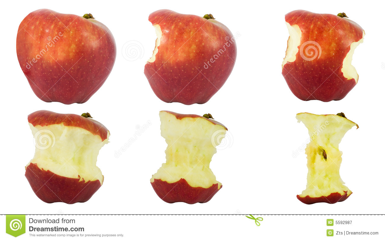 Sequence Of An Apple Being Eaten Royalty Free Stock Photography