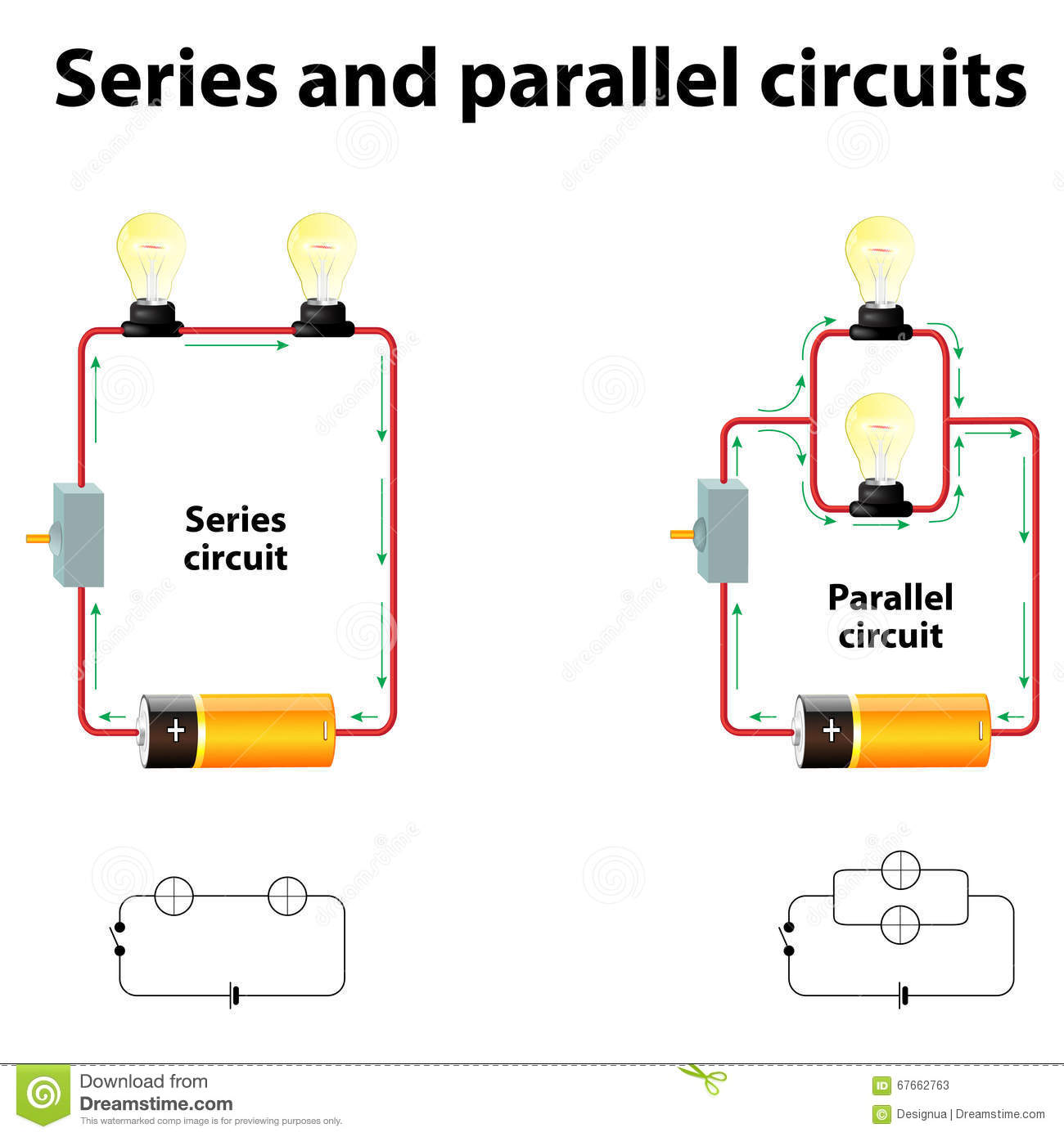 Series And Parallel Circuits Stock Vector